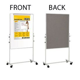 Bi-Office Portable Duo Easel 1200 x 700mm Drywipe and Grey Felt
