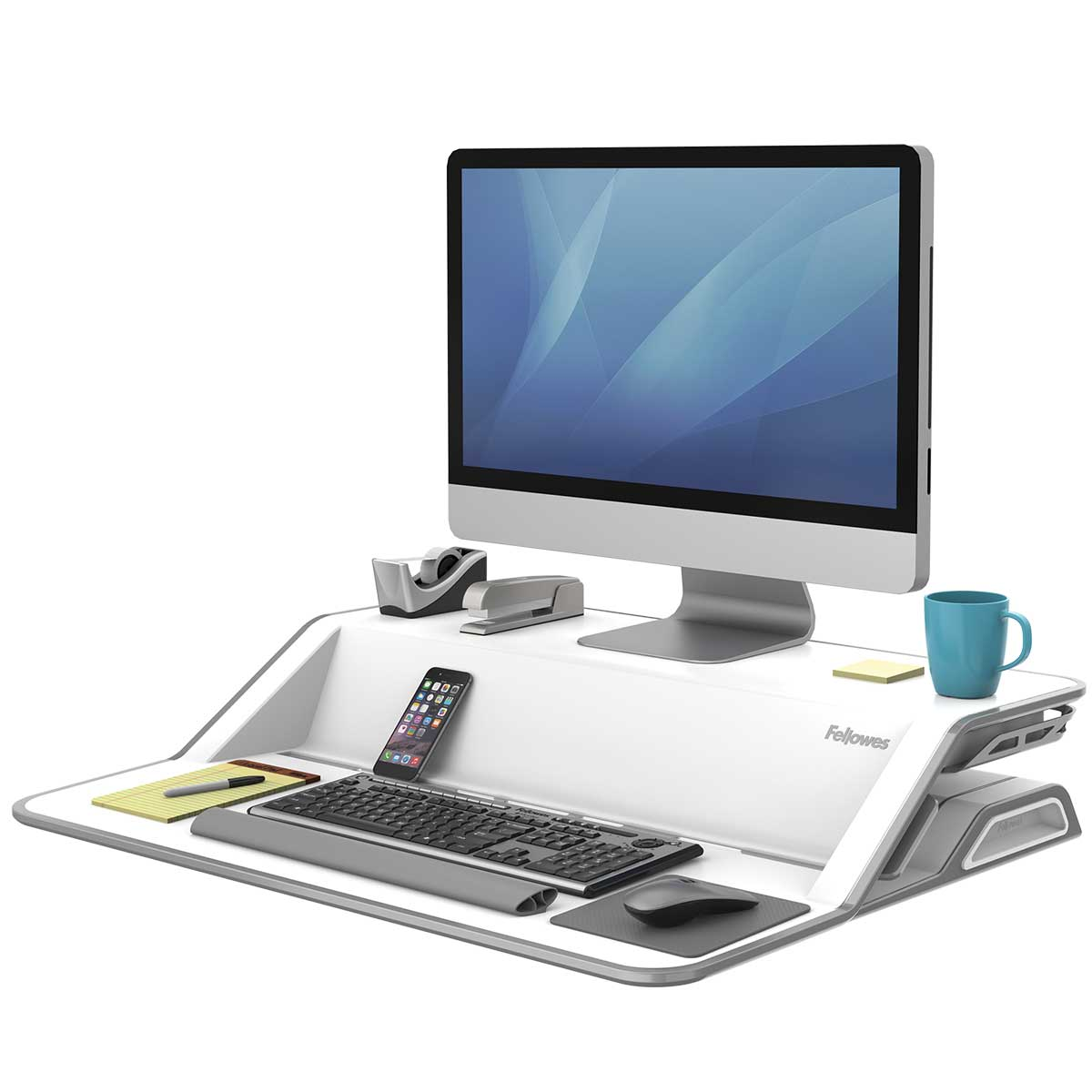 Fellowes 0009901 Lotus Sit Stand Workstation - White