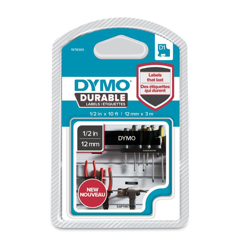 Dymo 1978365 D1 Durable 12mm x 3M Tape White on Black