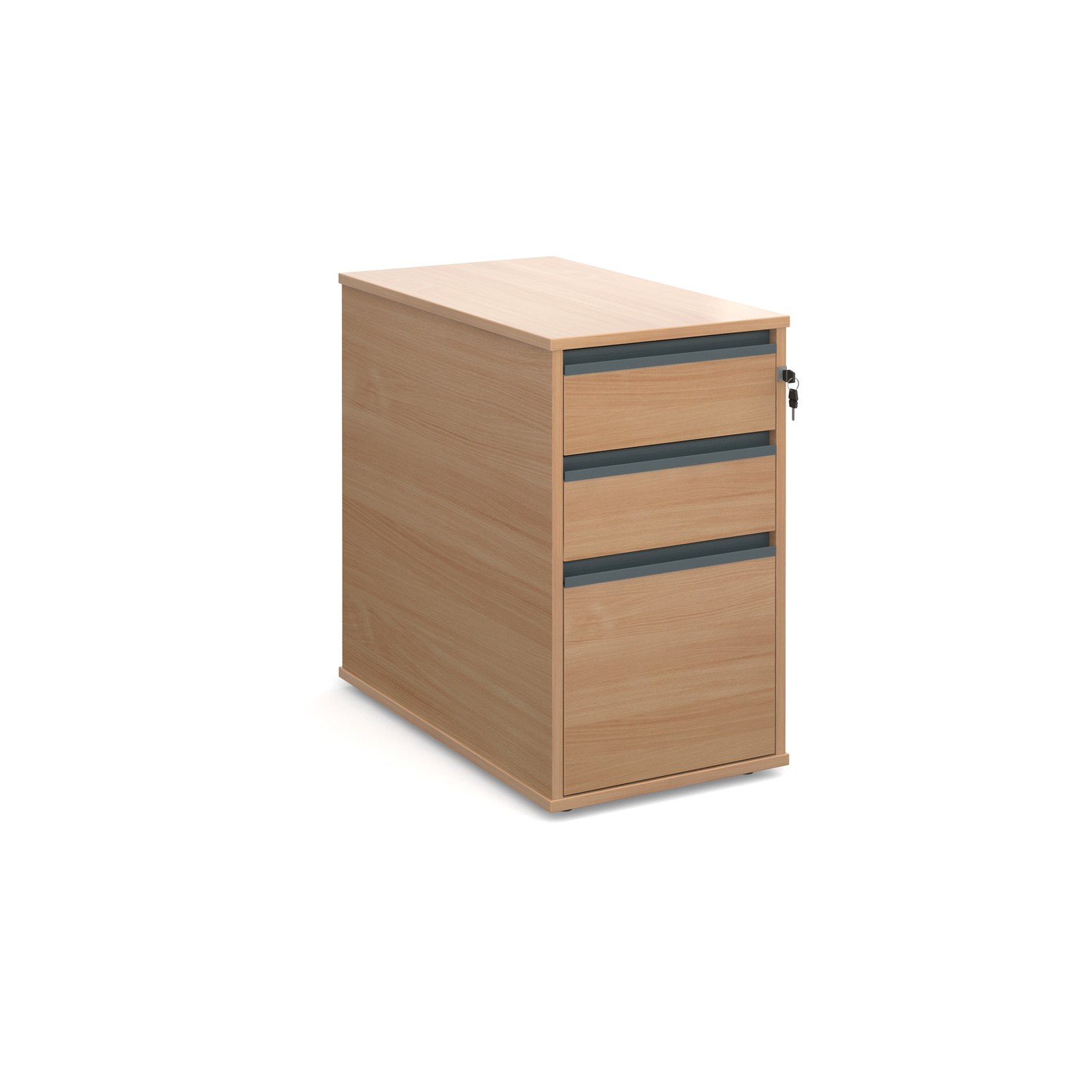 3 Drw Desk End Ped 746mm - Beech