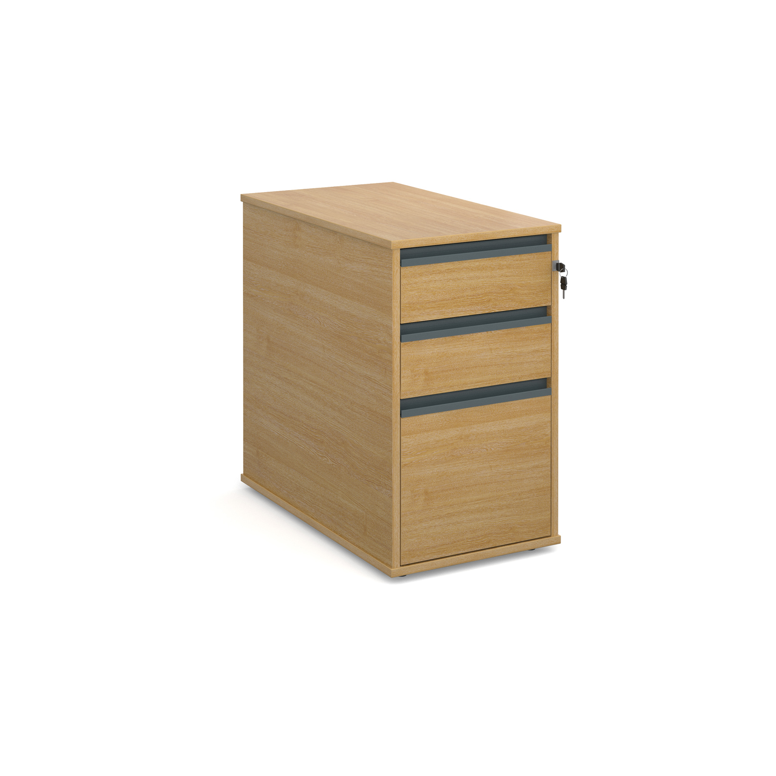 3 Drw Desk End Ped 746mm - Oak