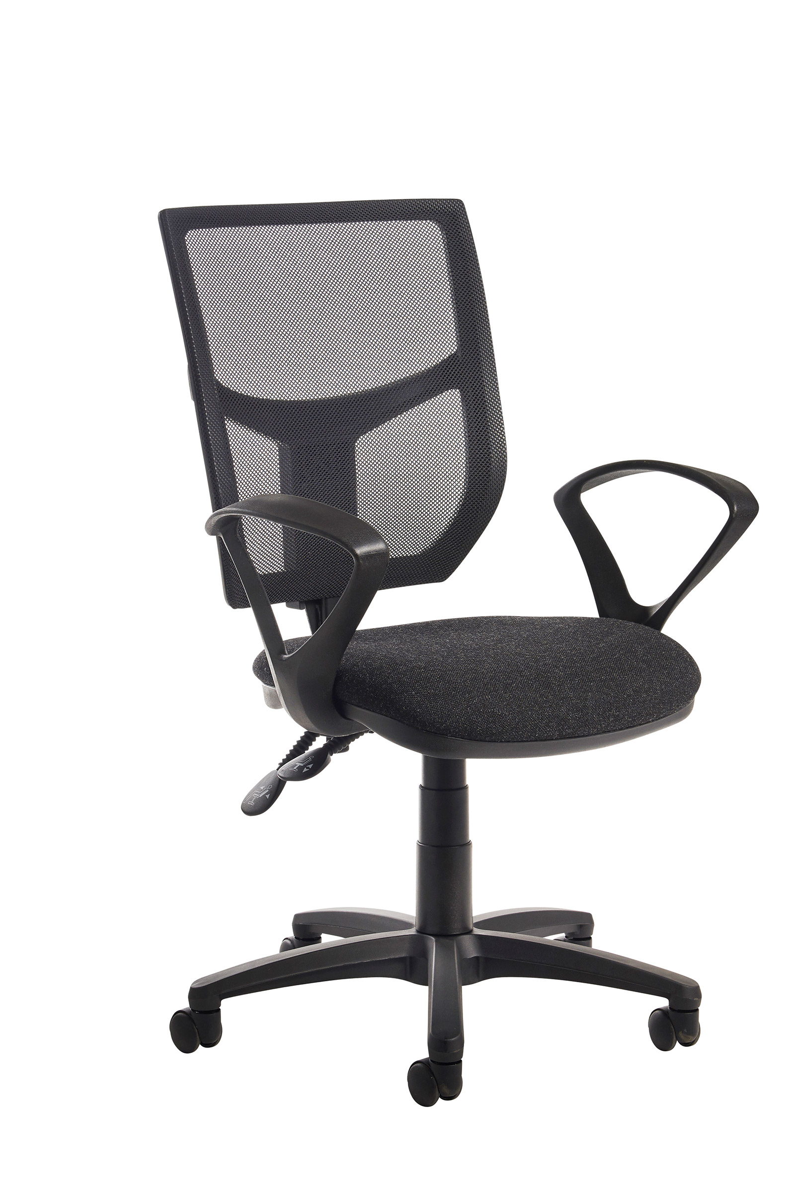 Altino high back operator chair  with fixed arms charcoal