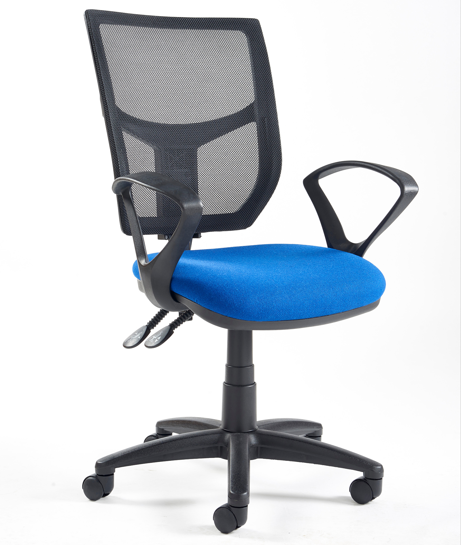 Altino high back operator chair  with fixed arms blue