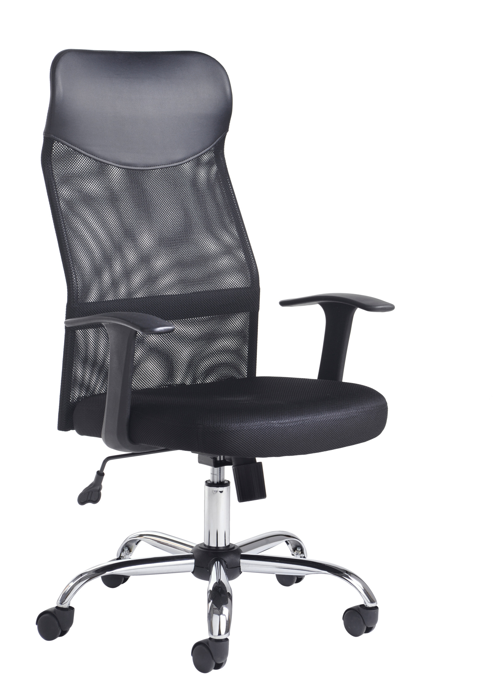 Aurora High back mesh chair with headrest, fixed arms, chrome base, black mesh back with upholstered seat