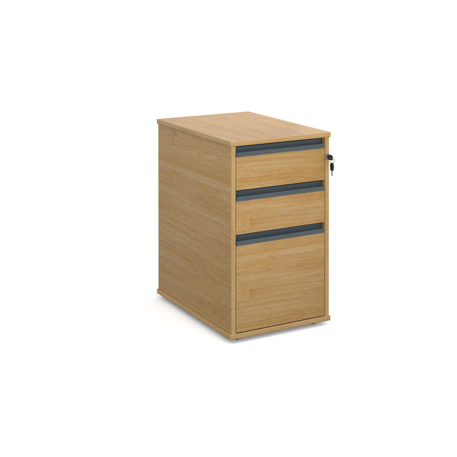 3 Drawer Desk End Ped - Oak