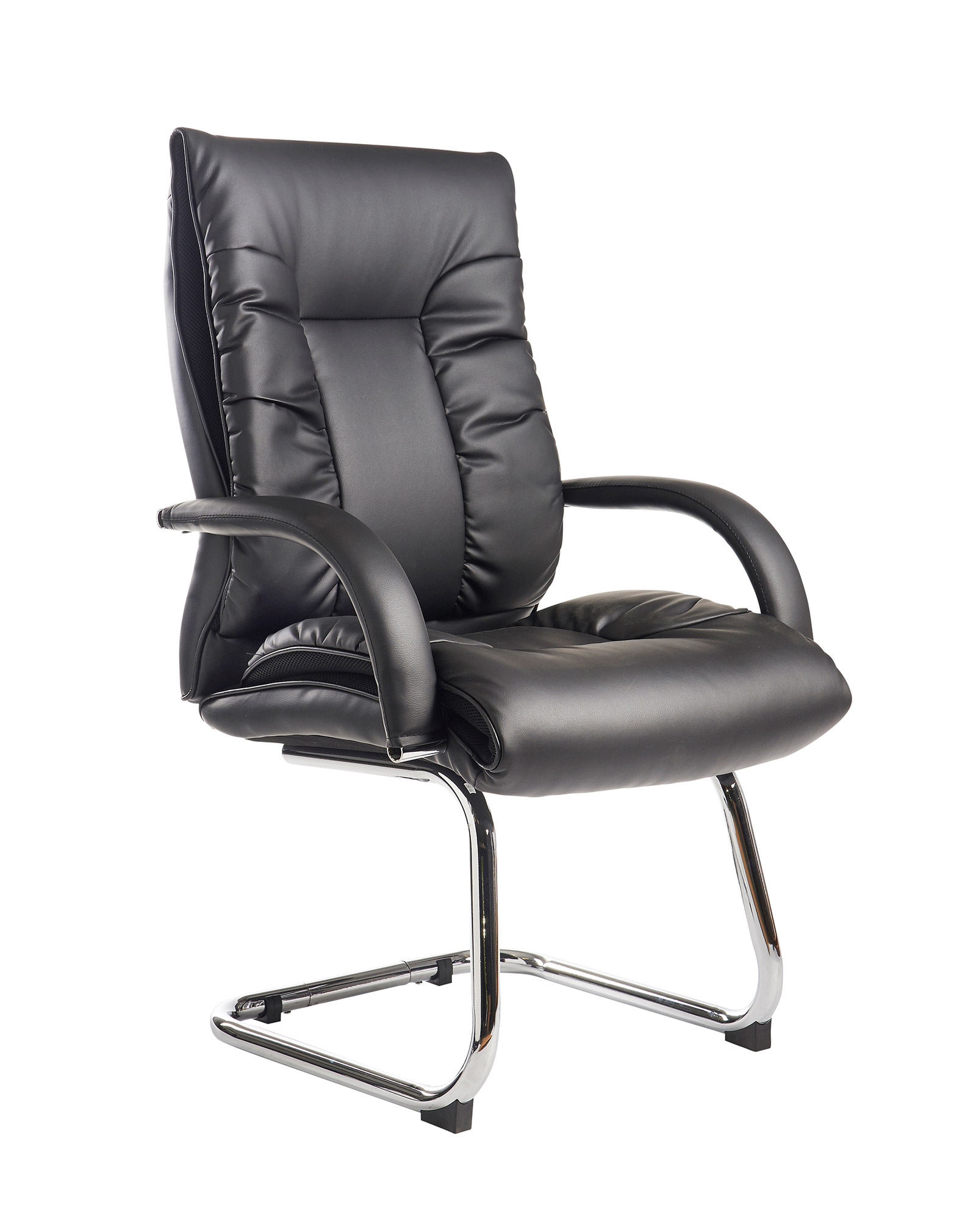 Derby executive cantilever chair black faux leather