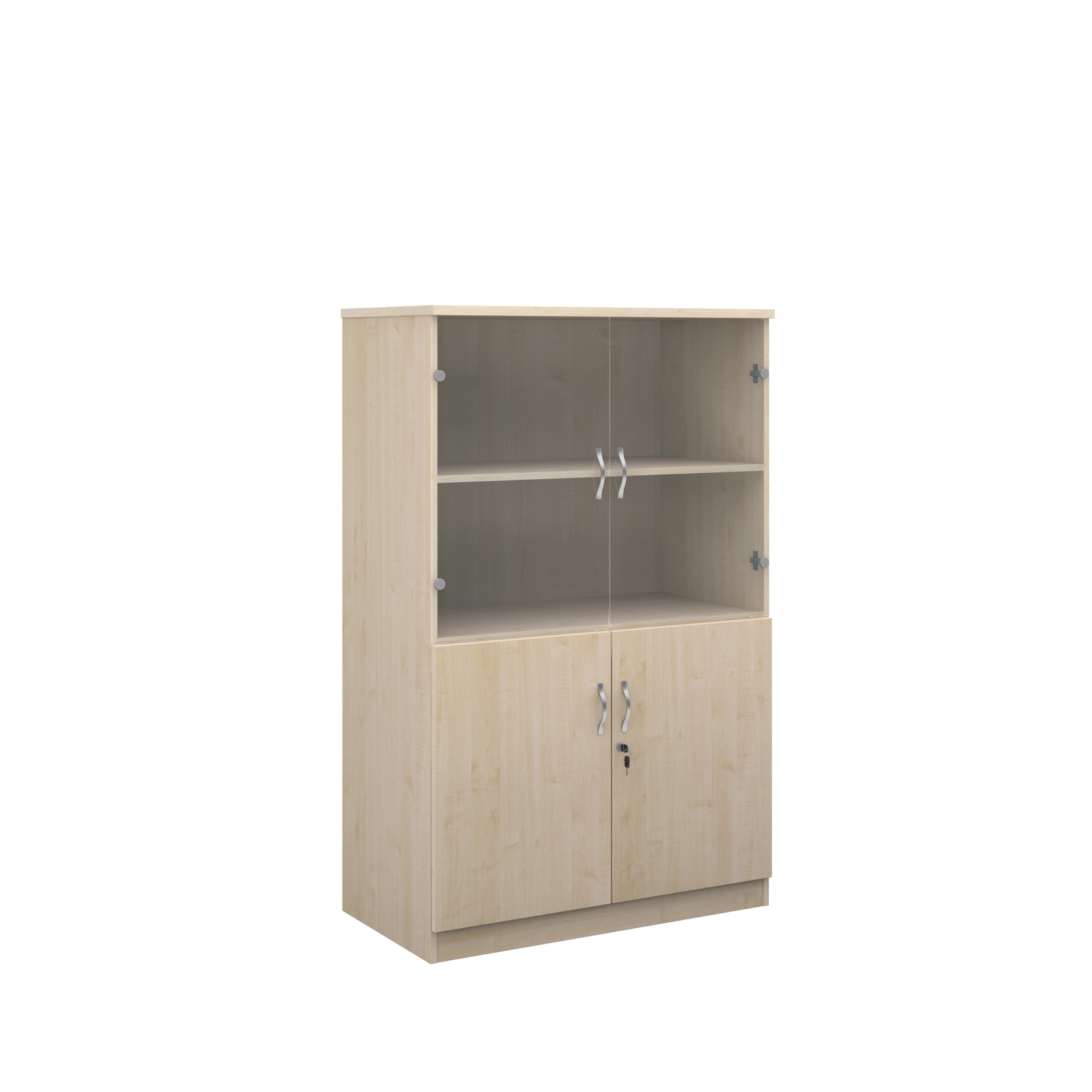 1600mm high deluxe combination bookcase with wood and glass doors