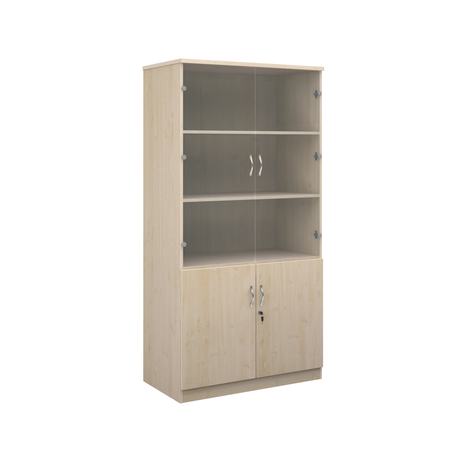2000mm high deluxe combination bookcase with wood and glass doors