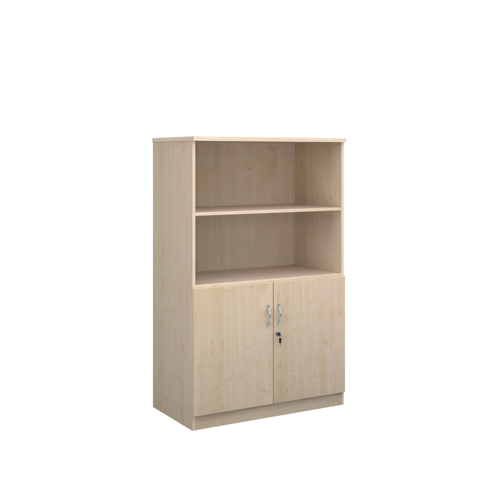1600mm high deluxe combination bookcase with wood doors and open tops