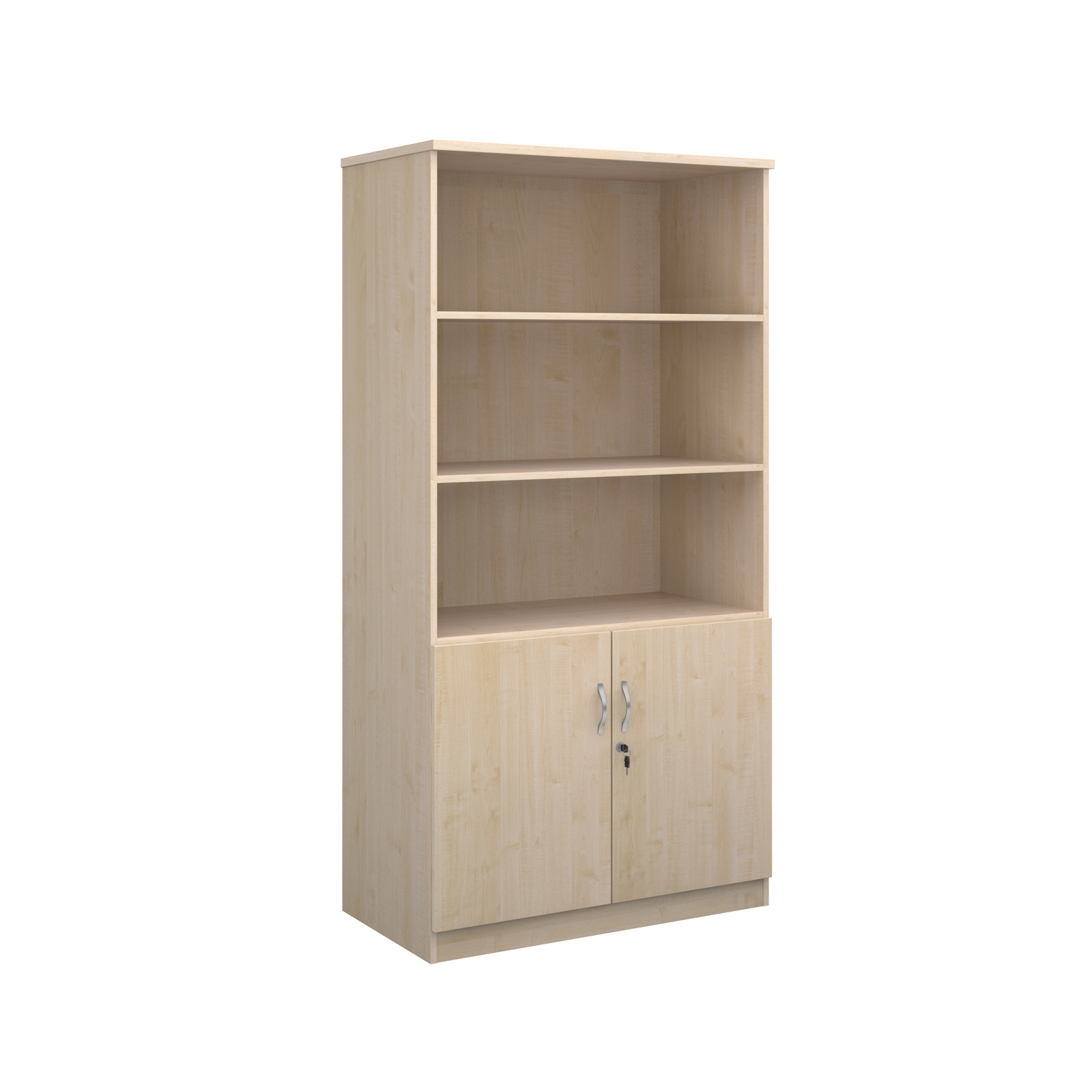 2000mm high deluxe combination bookcase with wood doors and open tops