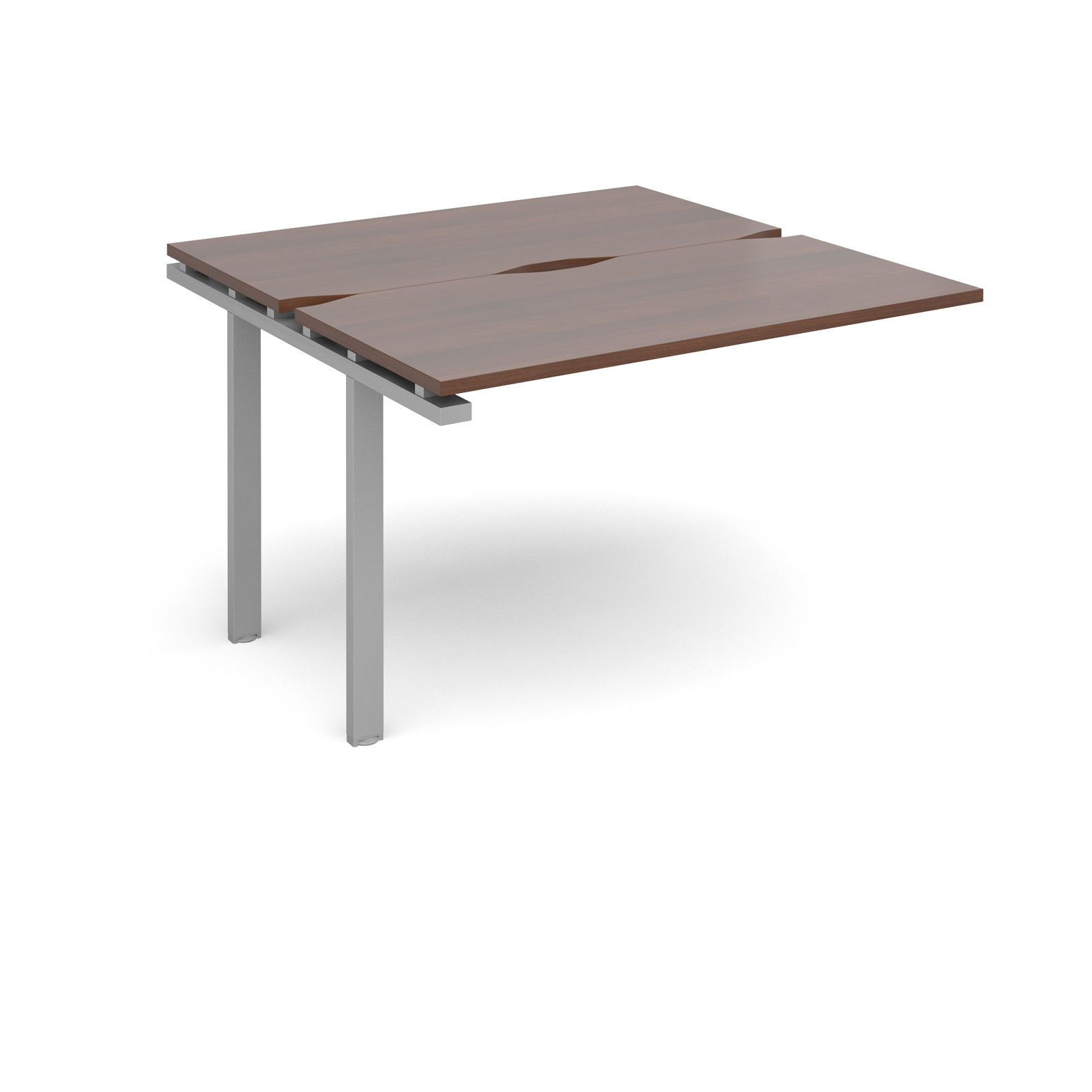 Adapt II 1200 x 1200 x 725mm Back to Back Add On Bay - Walnut / Silver Leg