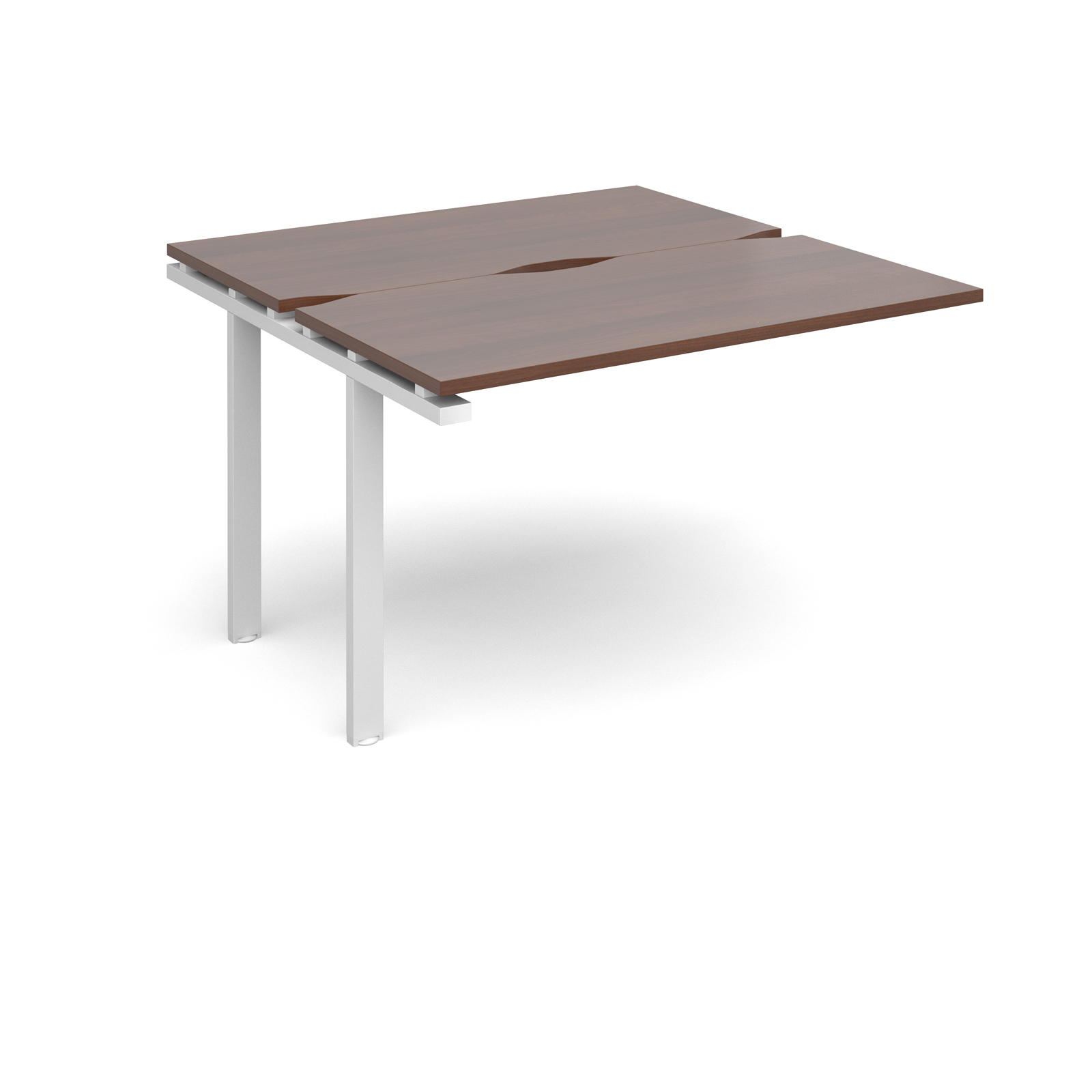 Adapt II 1200 x 1200 x 725mm Back to Back Add On Bay - Walnut / White Leg