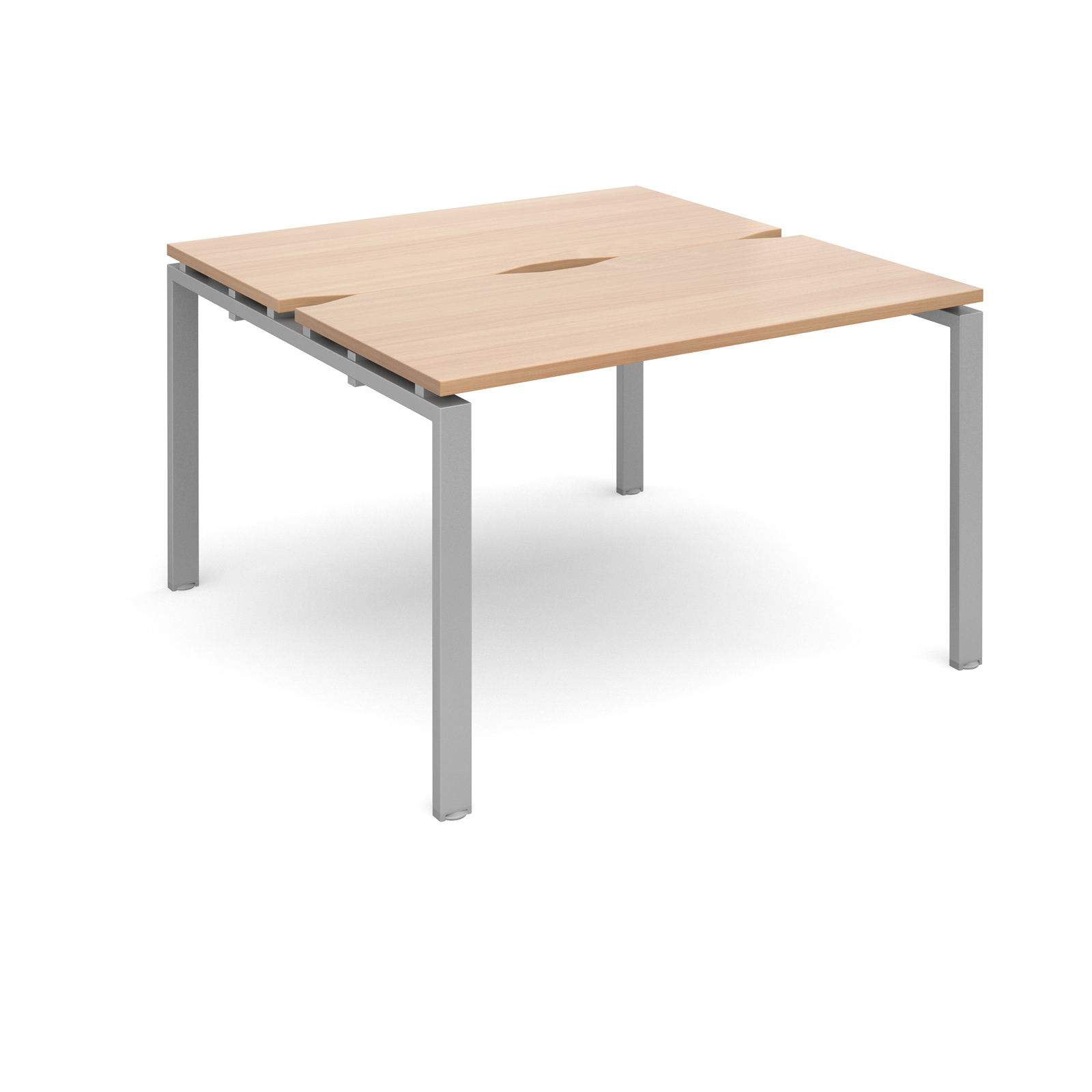 Adapt II 1200 x 1200 x 725mm Back to Back Desk - Beech / Silver Leg