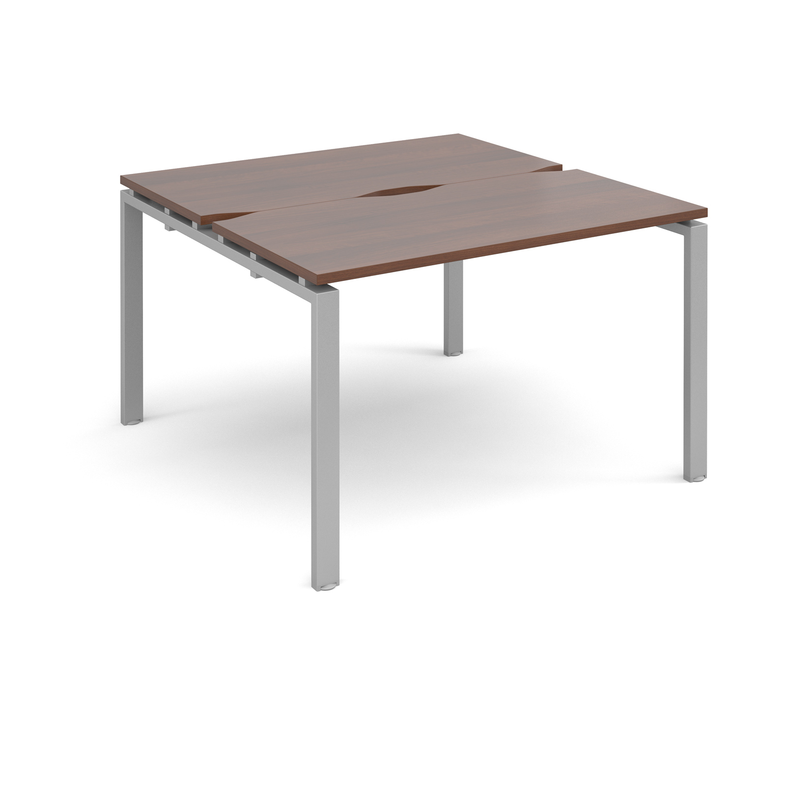Adapt II 1200 x 1200 x 725mm Back to Back Desk - Walnut / Silver Leg