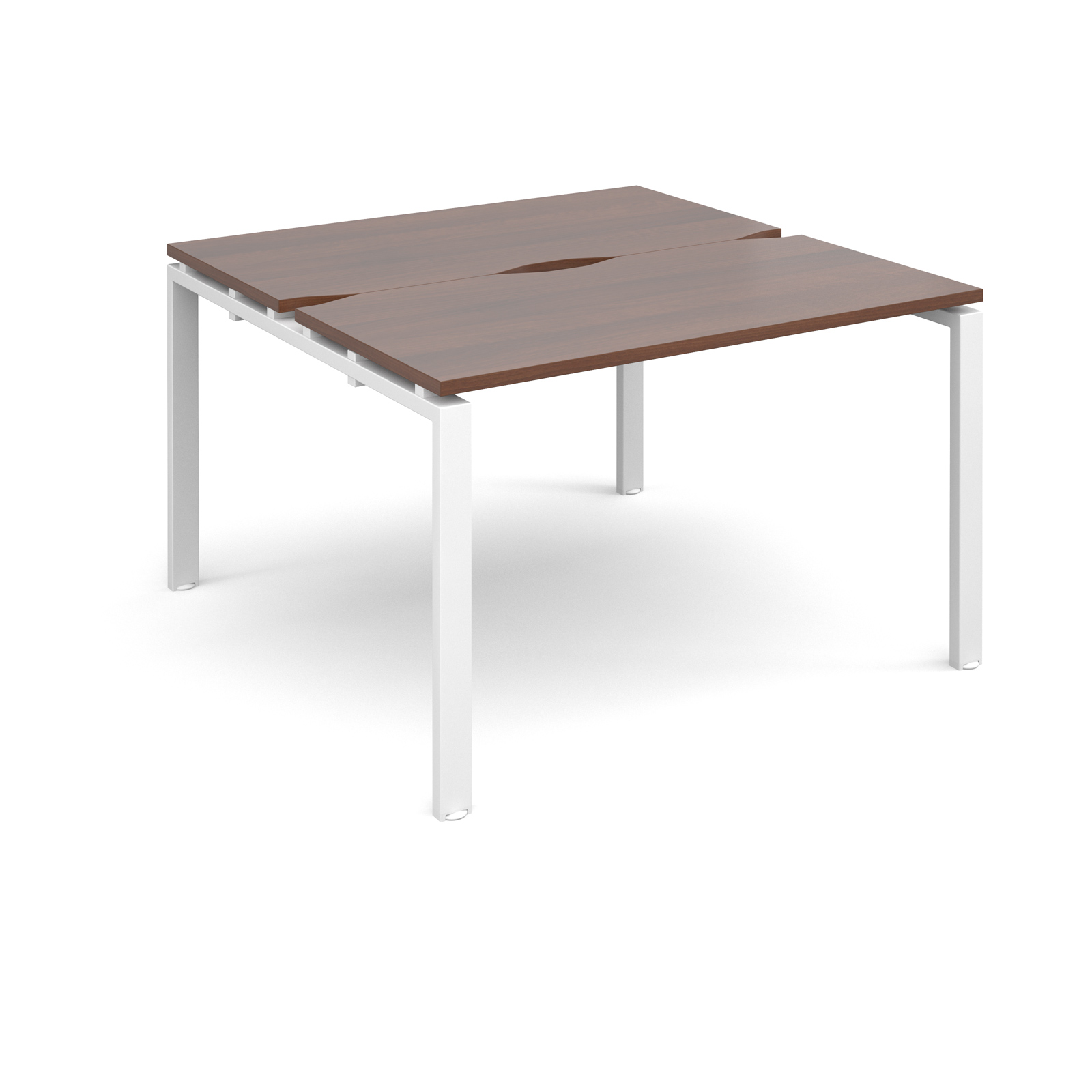 Adapt II 1200 x 1200 x 725mm Back to Back Desk - Walnut / White Leg