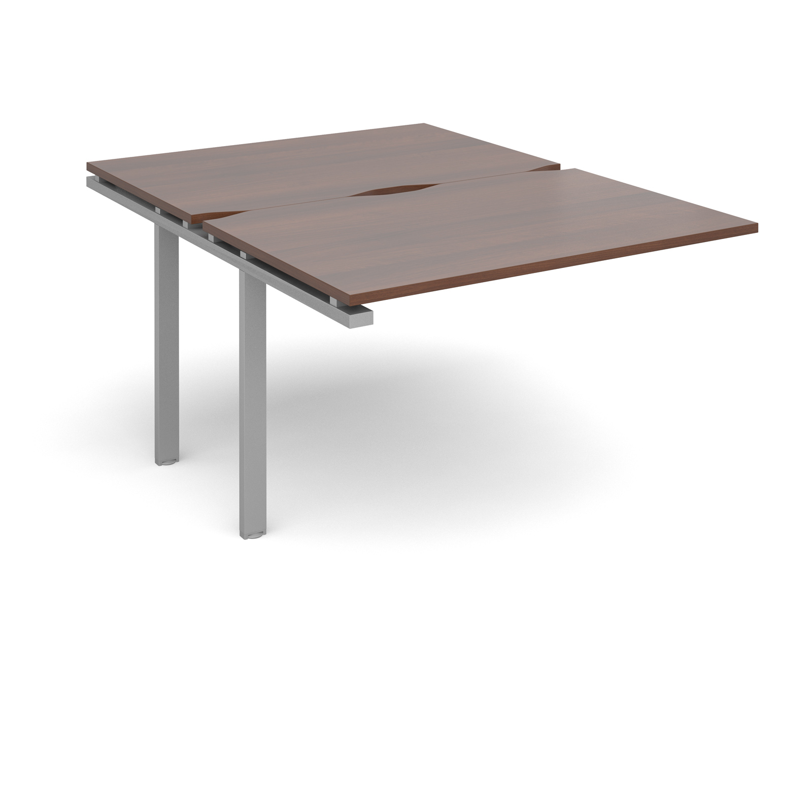Adapt II 1200 x 1600 x 725mm Back to Back Add On Bay - Walnut / Silver Leg