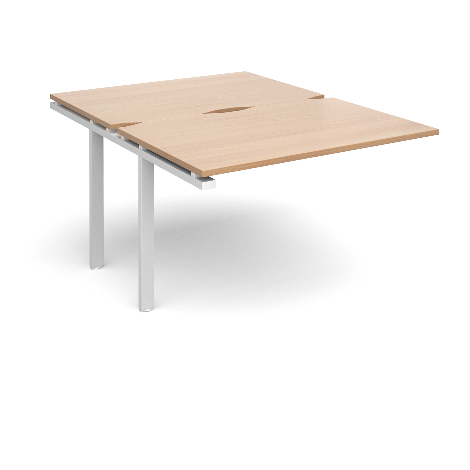 Adapt II 1200 x 1600 x 725mm Back to Back Add On Bay - Beech / White Leg