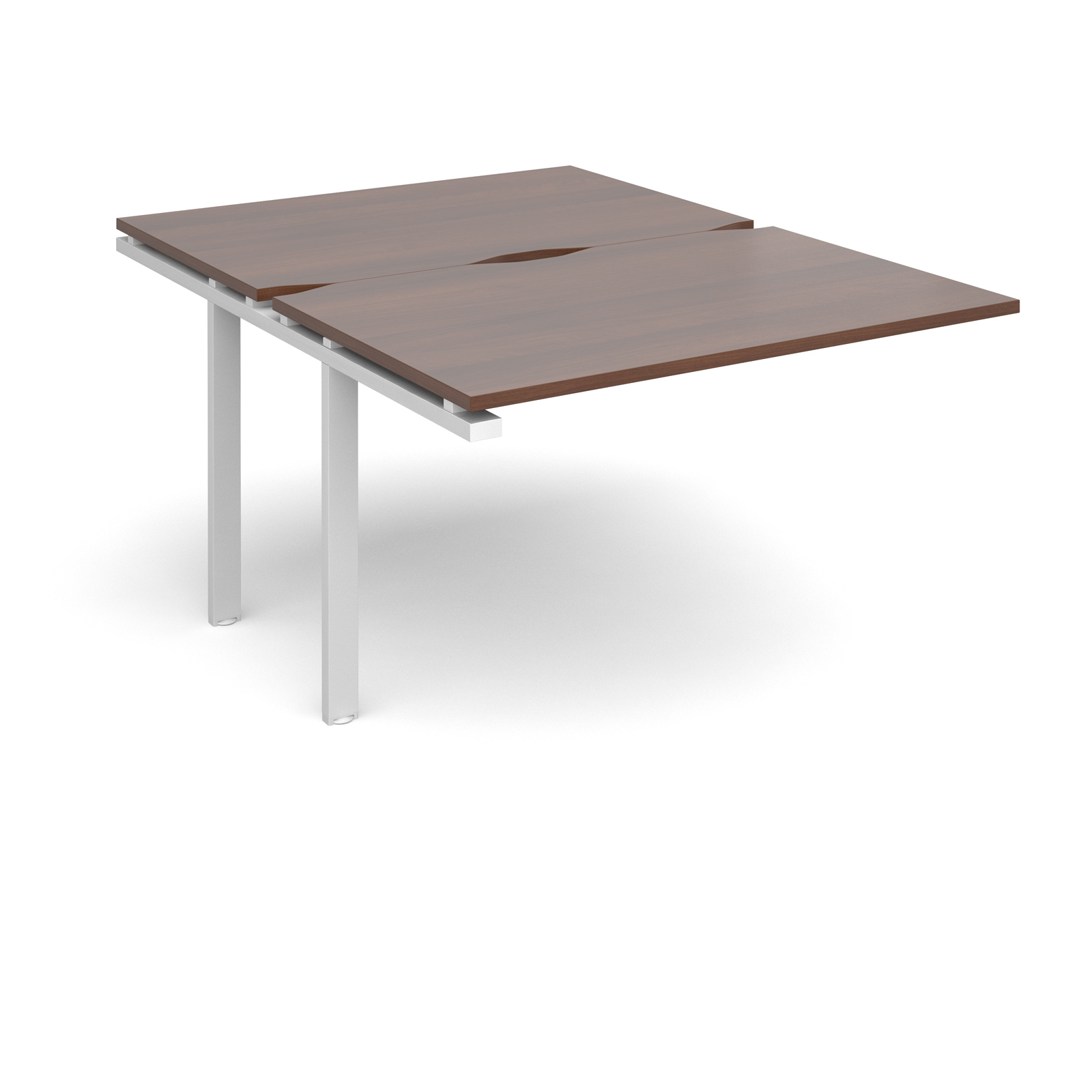 Adapt II 1200 x 1600 x 725mm Back to Back Add On Bay - Walnut / White Leg