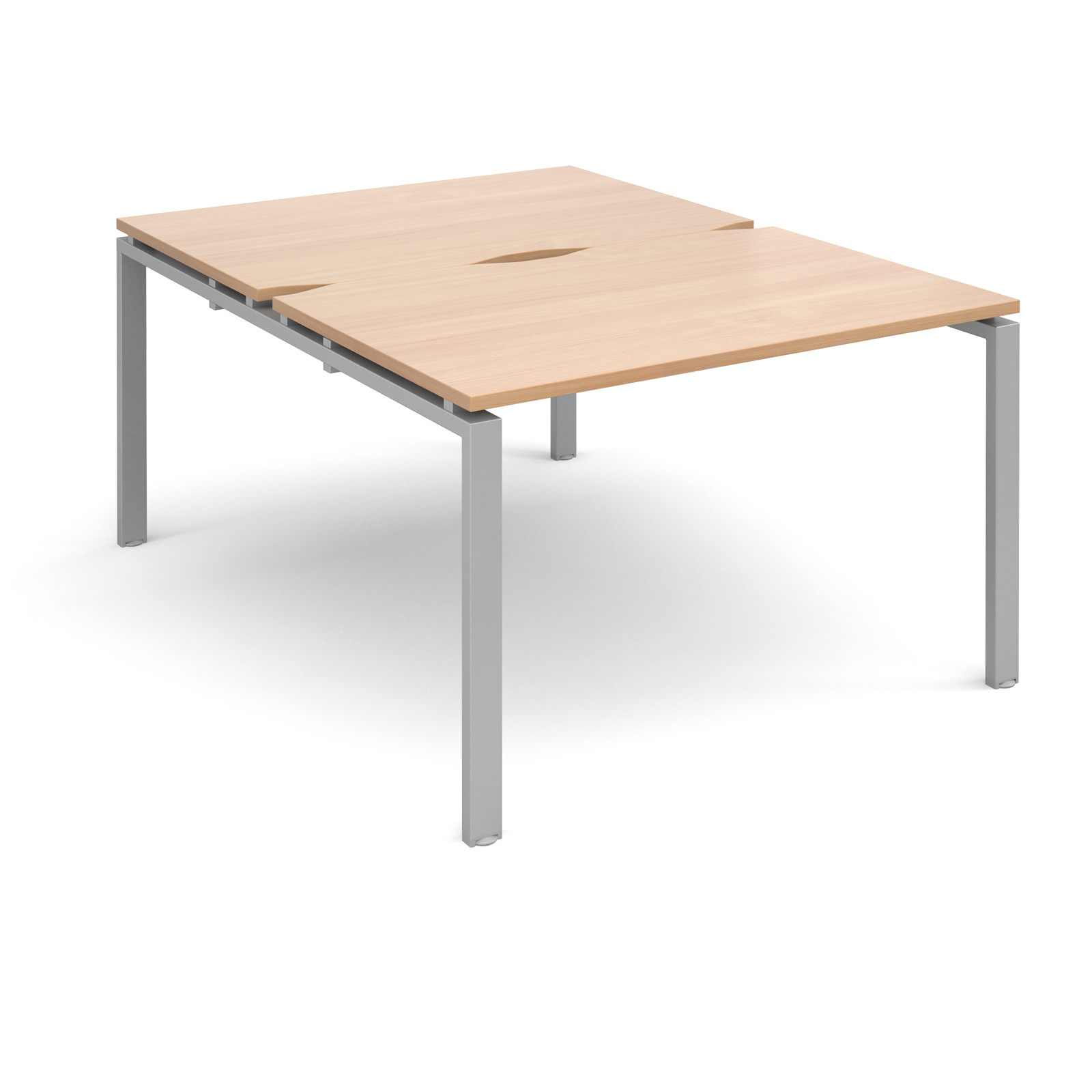 Adapt II 1200 x 1600 x 725mm Back to Back Desk - Beech / Silver Leg