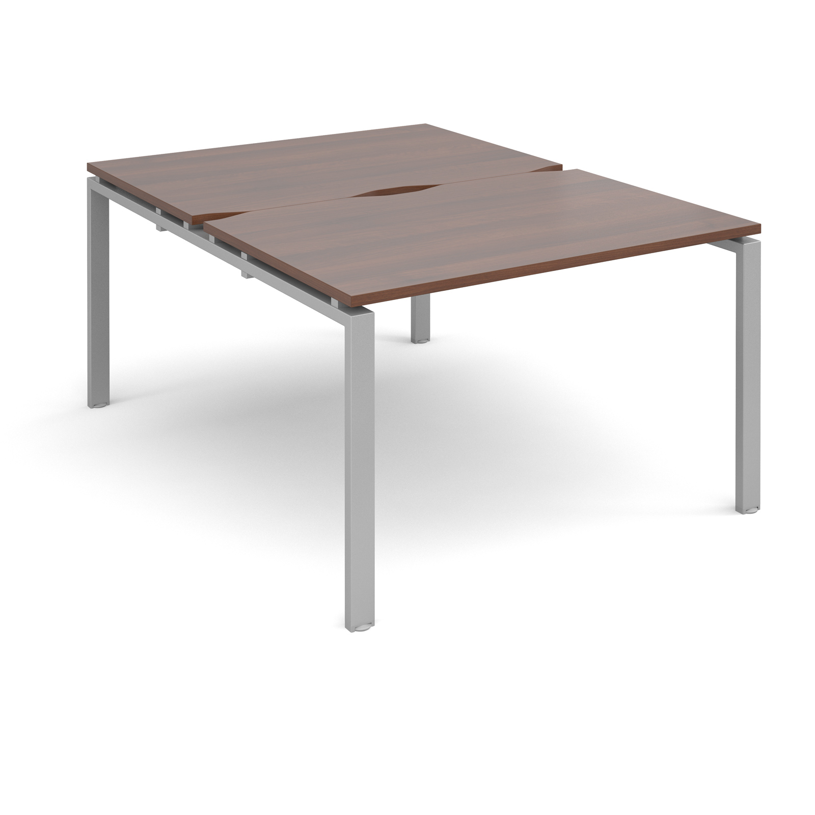 Adapt II 1200 x 1600 x 725mm Back to Back Desk - Walnut / Silver Leg