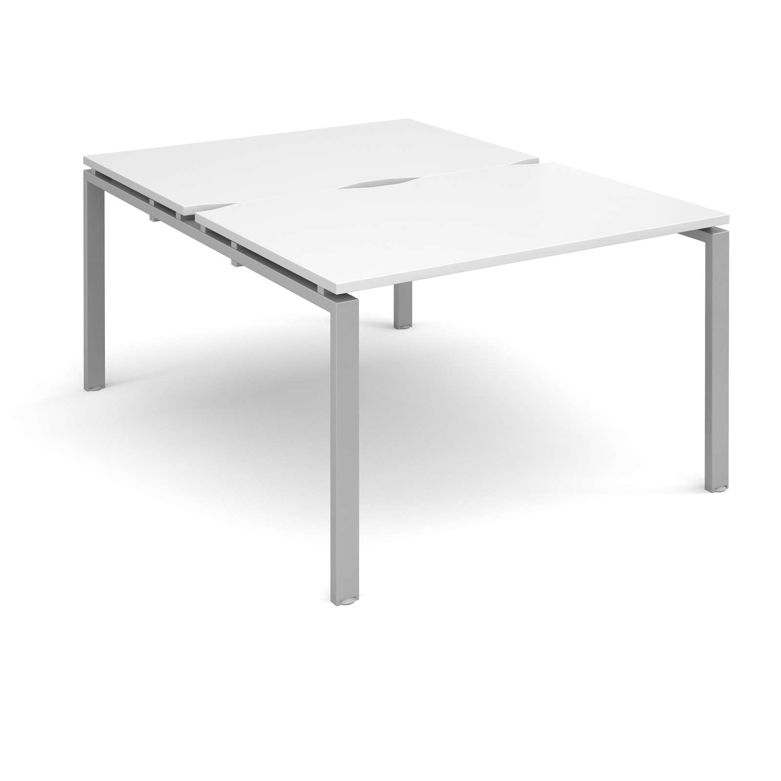 Adapt II 1200 x 1600 x 725mm Back to Back Desk - White / Silver Leg