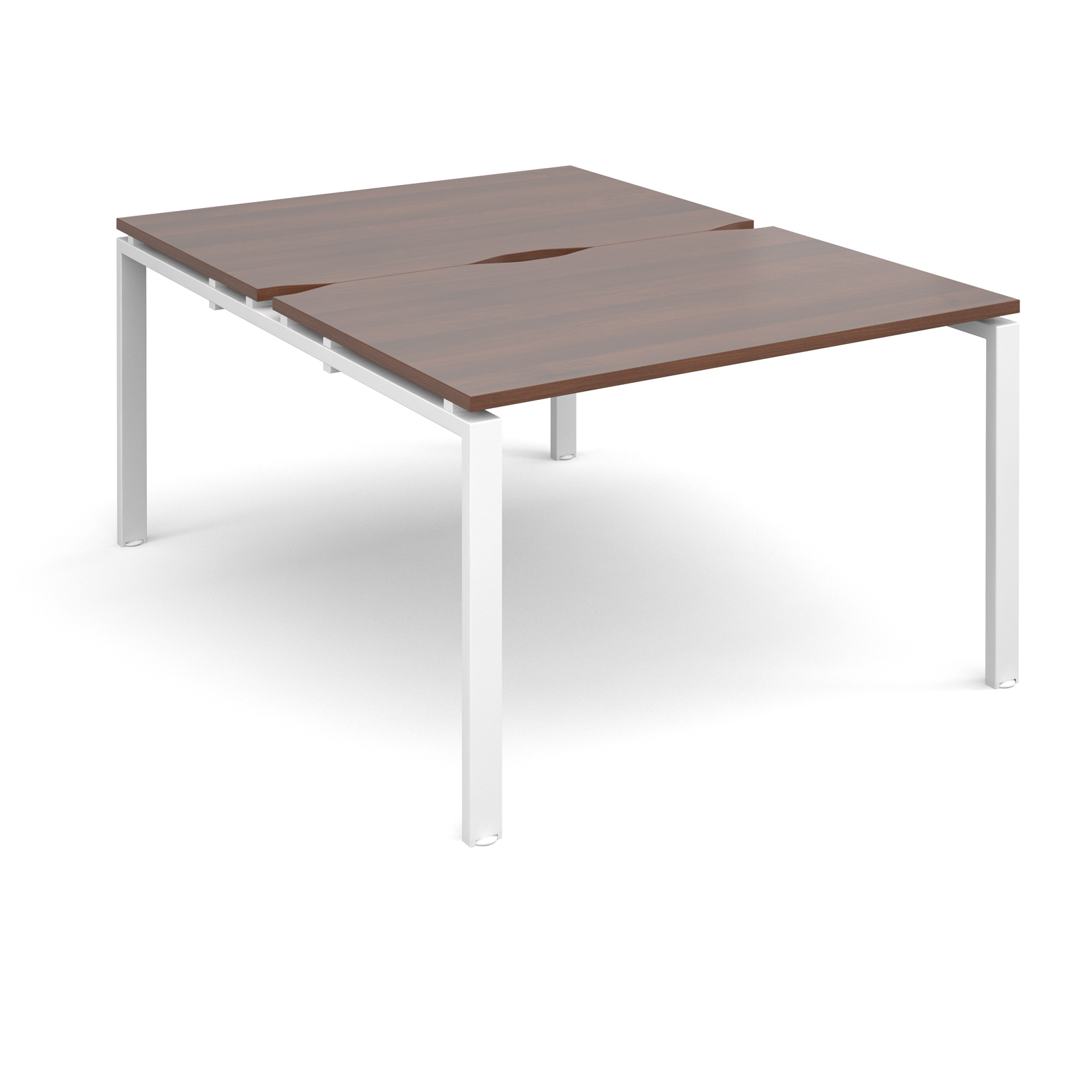 Adapt II 1200 x 1600 x 725mm Back to Back Desk - Walnut / White Leg