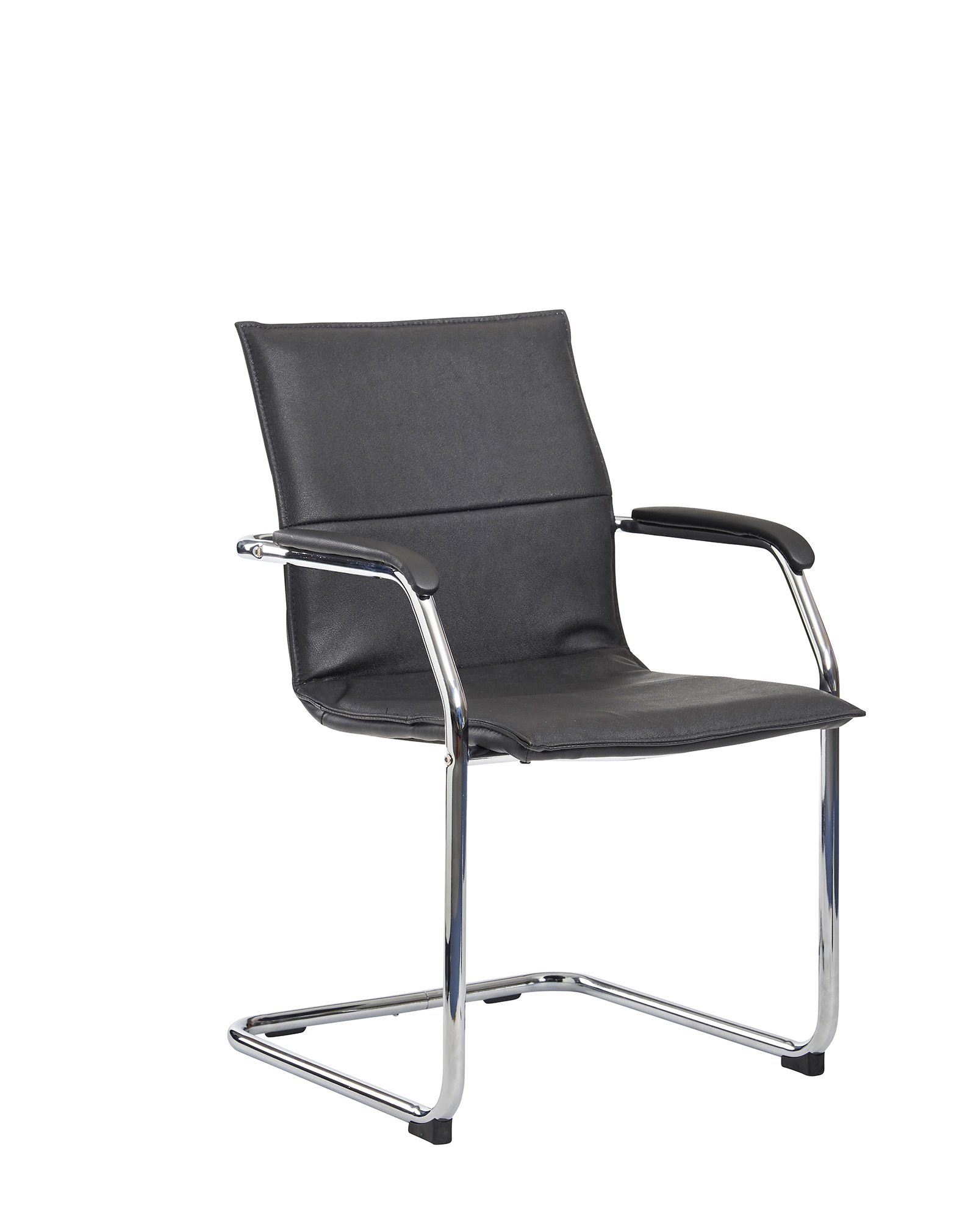 Essen Leather Faced Cantilever Chair - Black
