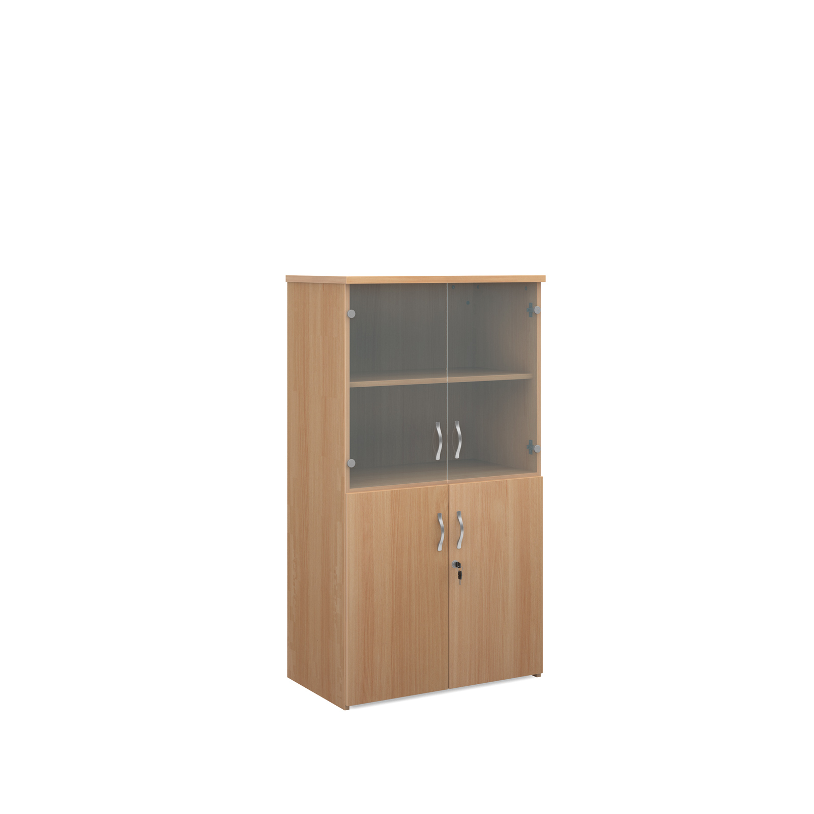 1440mm high combination unit with glass and wood doors in beech