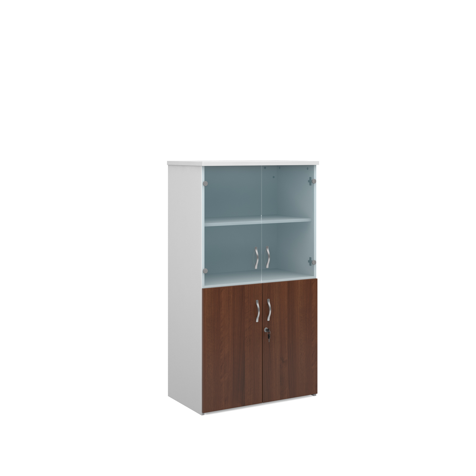1440mm high combination unit with glass and wood doors in walnut and white
