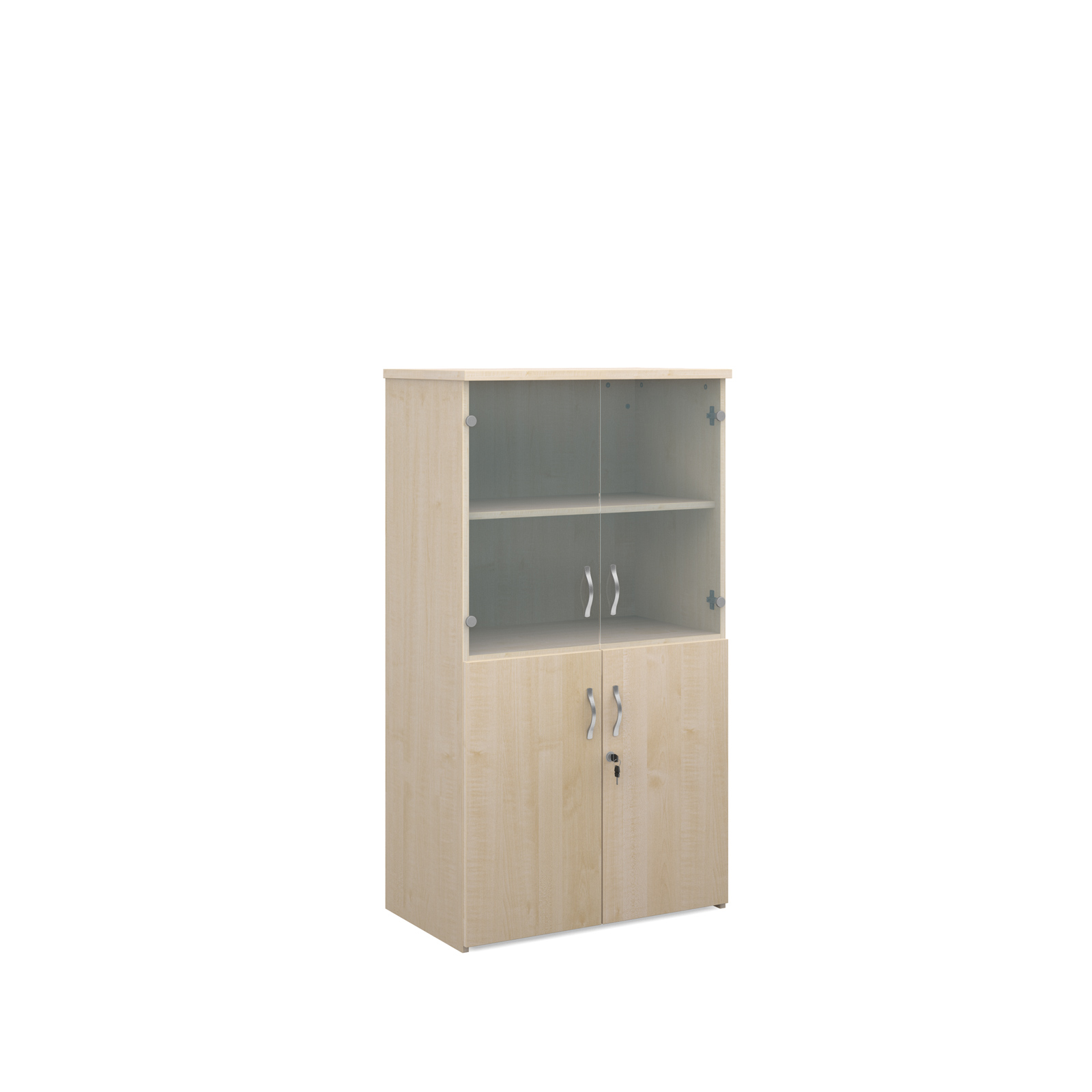 1440mm high combination unit with glass and wood doors in maple