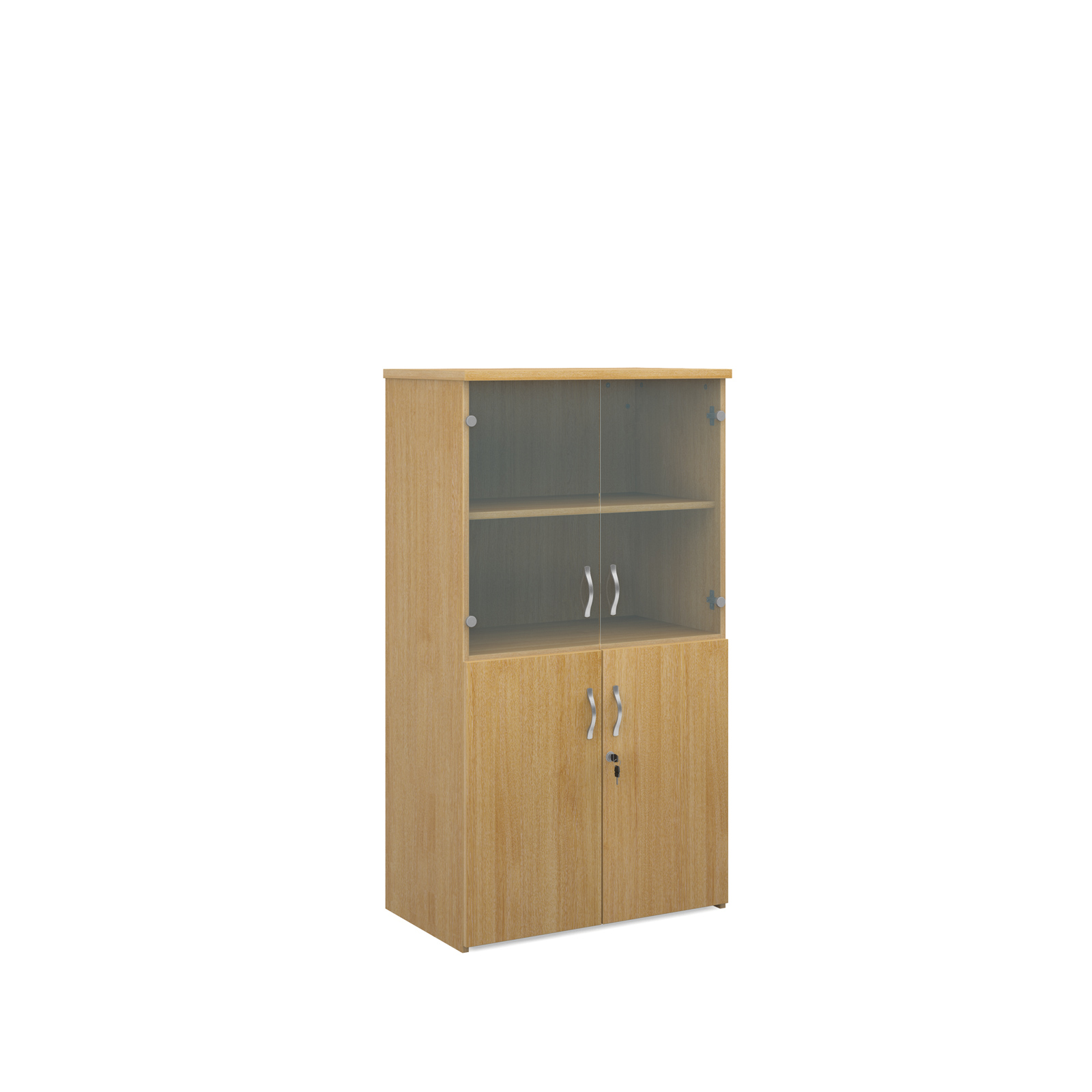 1440mm high combination unit with glass and wood doors in oak