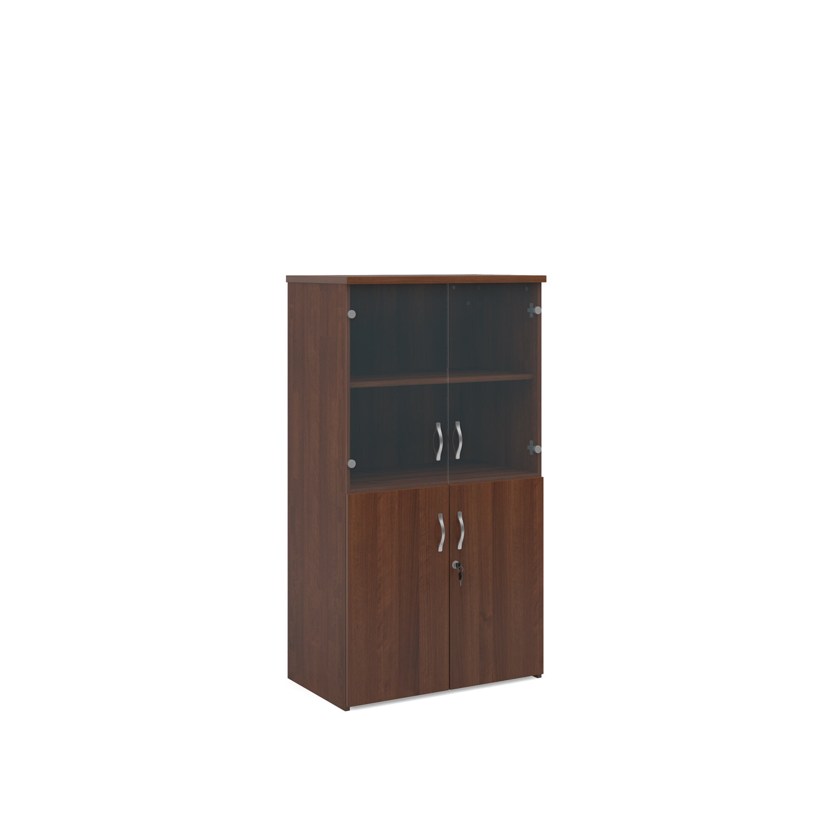 1440mm high combination unit with glass and wood doors in walnut