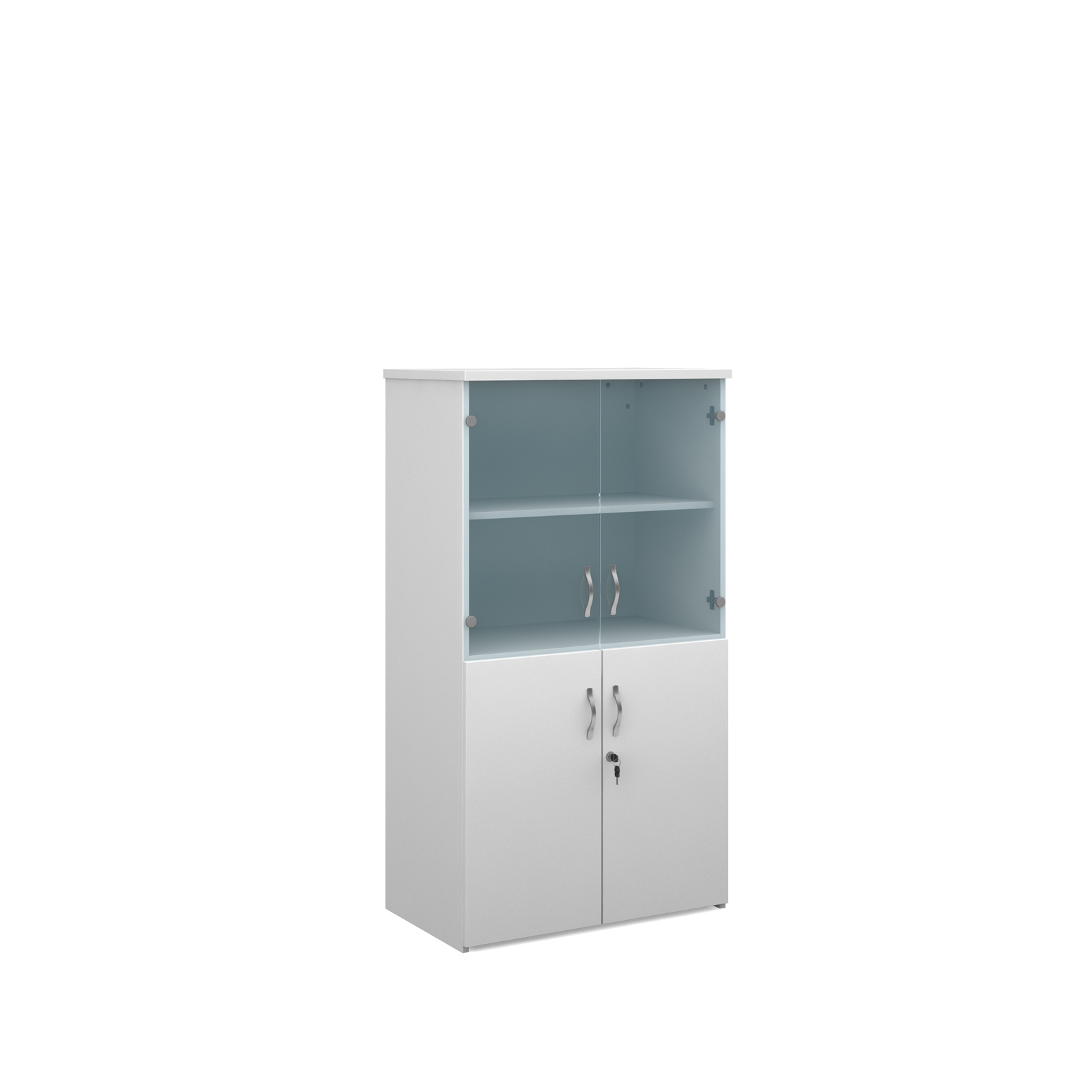 1440mm high combination unit with glass and wood doors in white