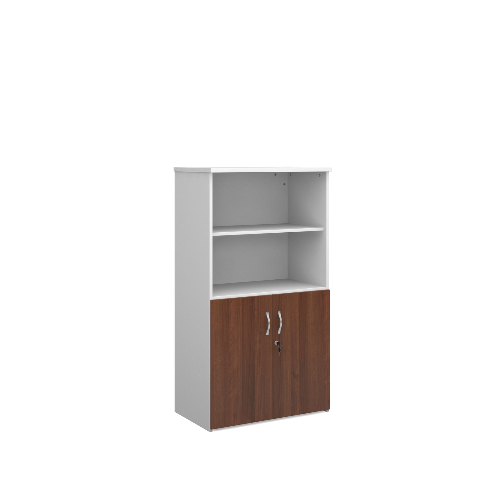 1440mm high combination unit with open top and wood doors in walnut and white