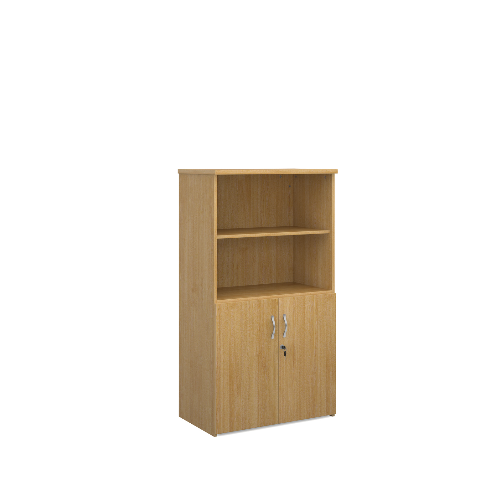 1440mm high combination unit with open top and wood doors in oak