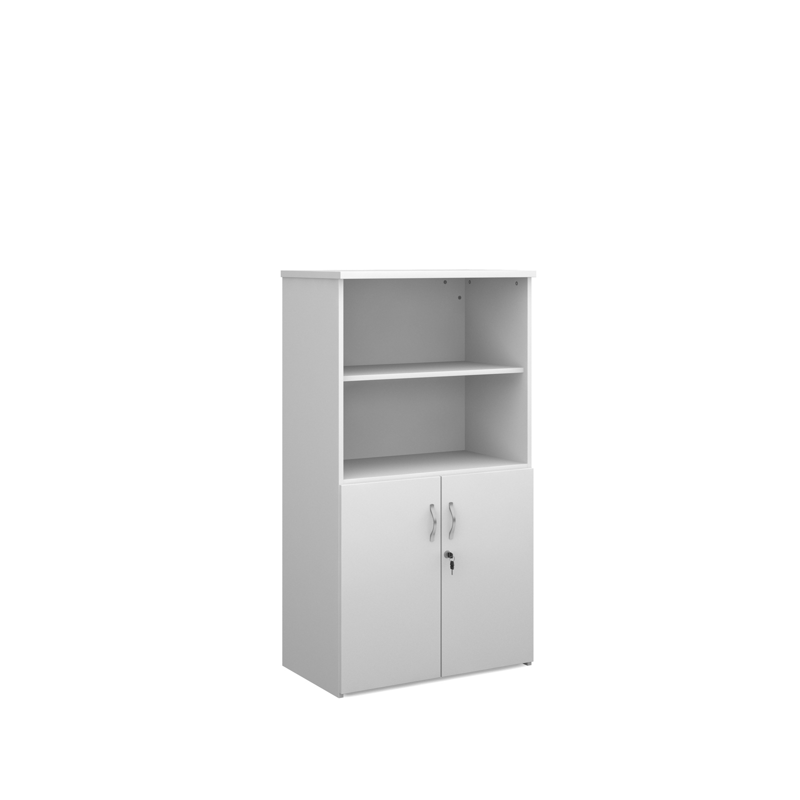 1440mm high combination unit with open top and wood doors in white