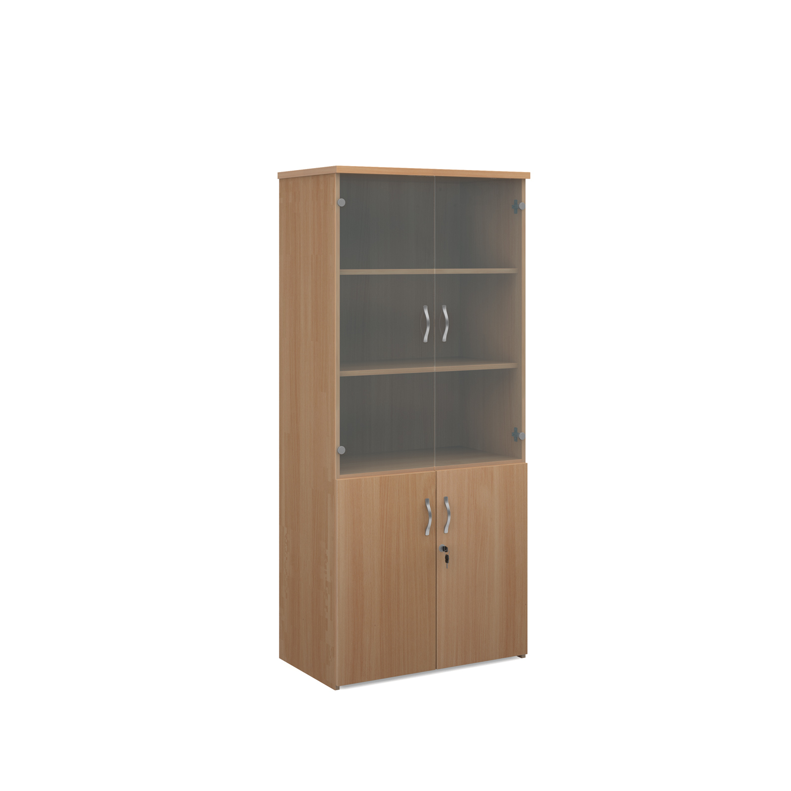 1790mm high combination unit with glass and wood doors in beech