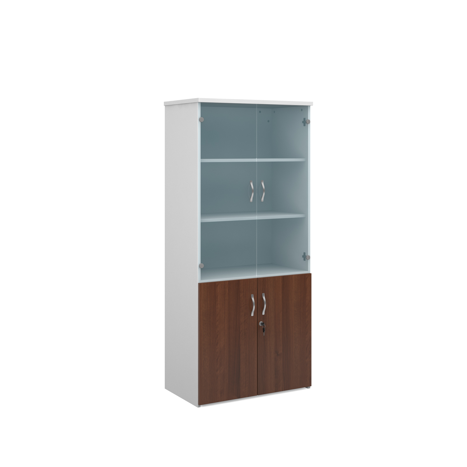 1790mm high combination unit with glass and wood doors in walnut and white