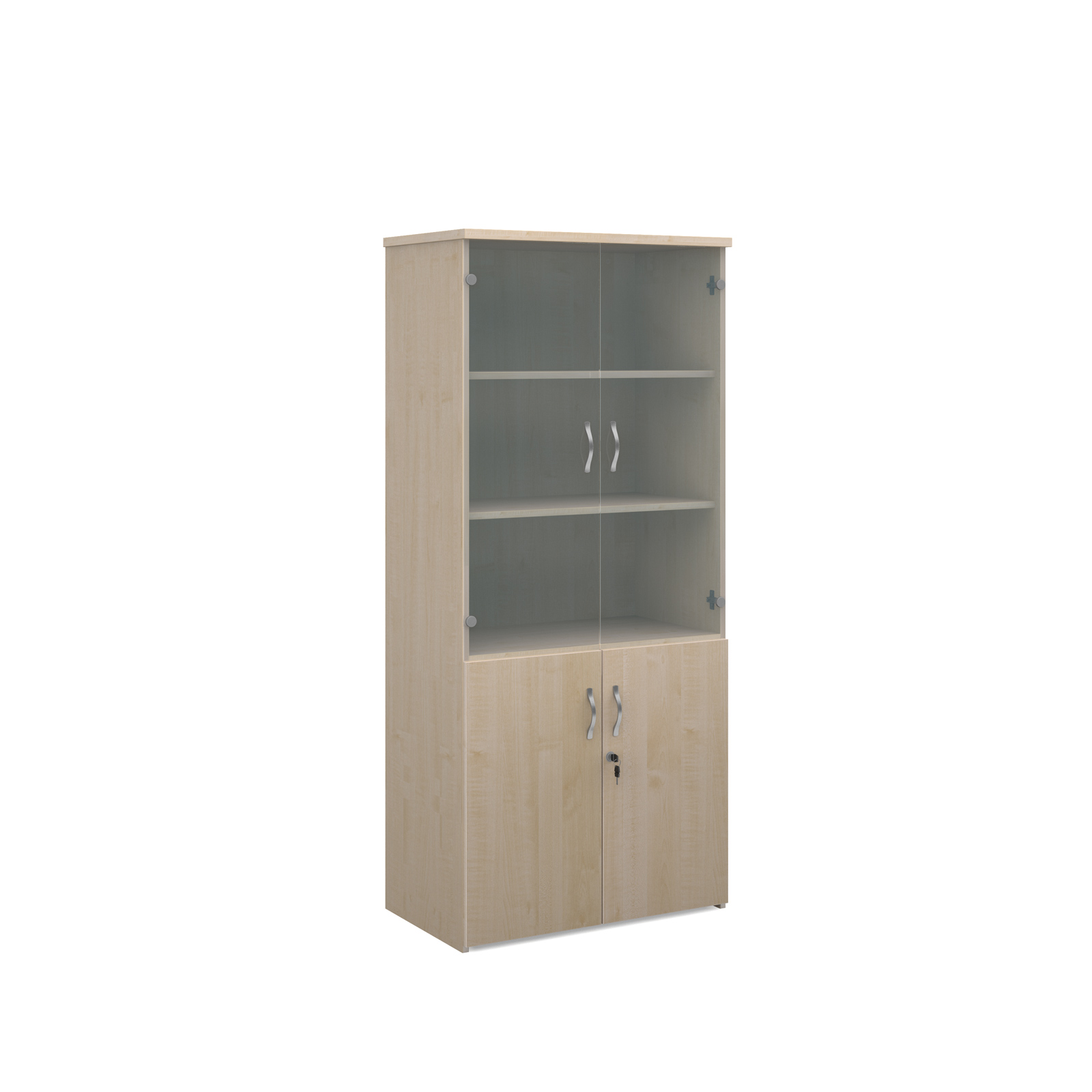 1790mm high combination unit with glass and wood doors in maple