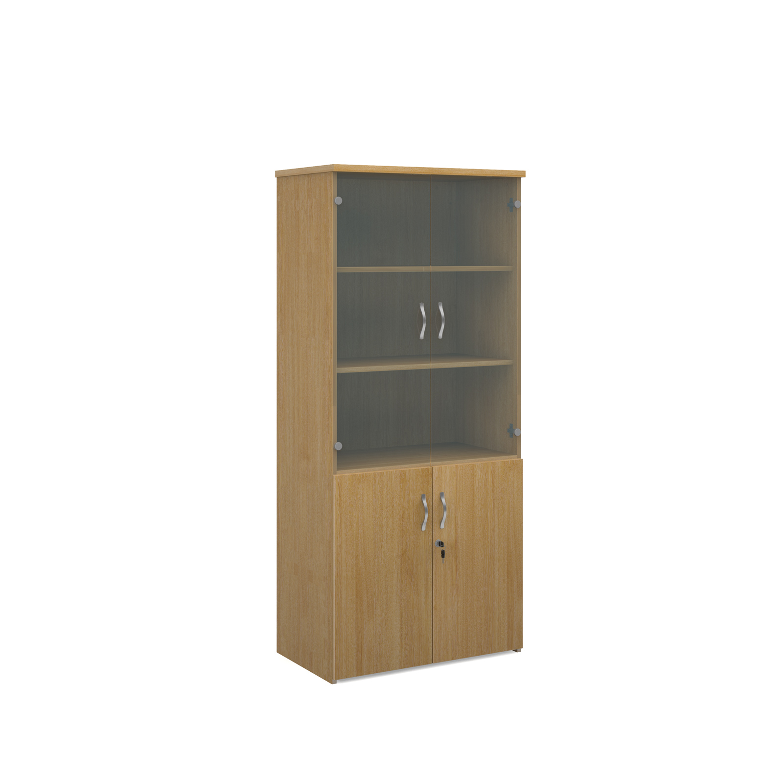 1790mm high combination unit with glass and wood doors in oak
