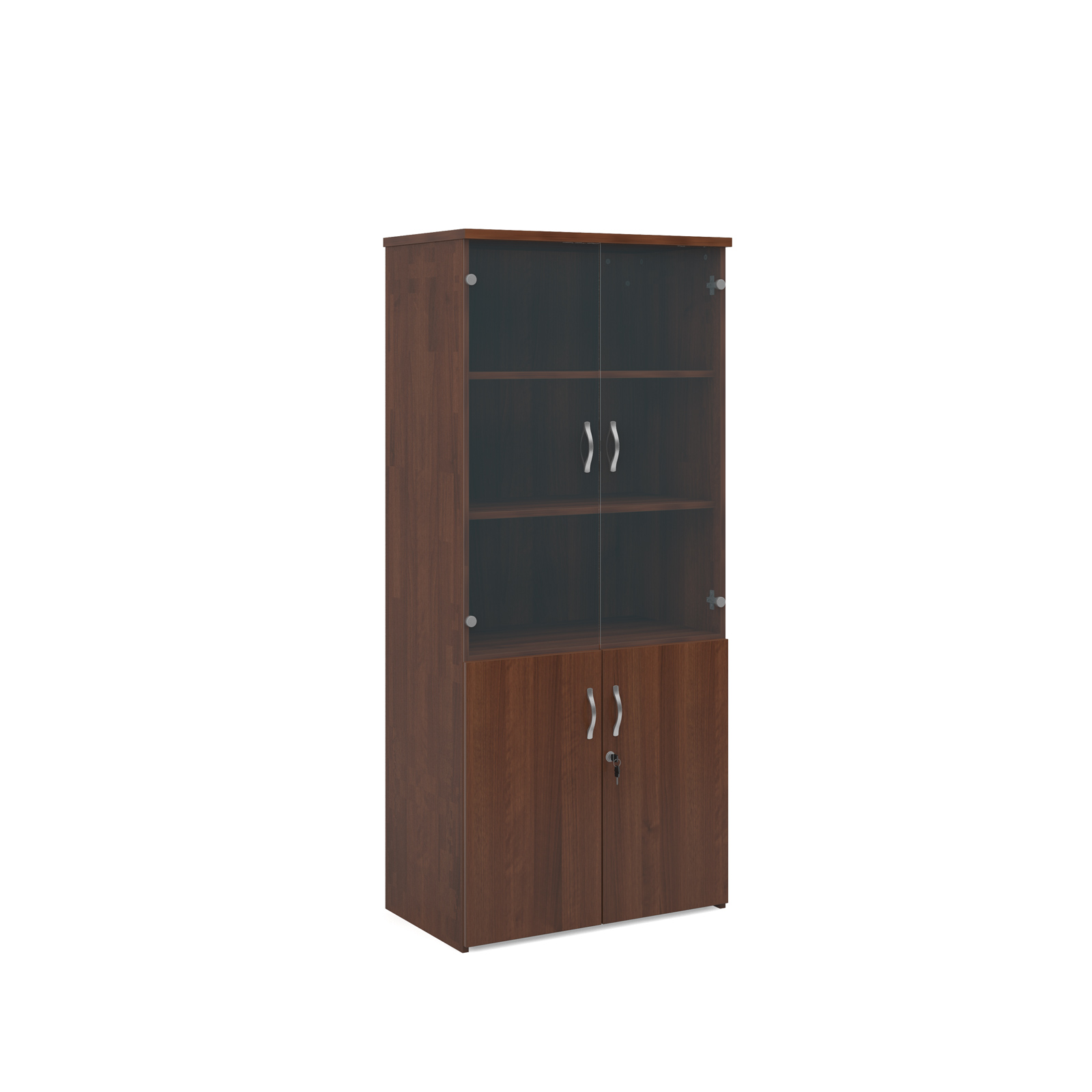 1790mm high combination unit with glass and wood doors in walnut