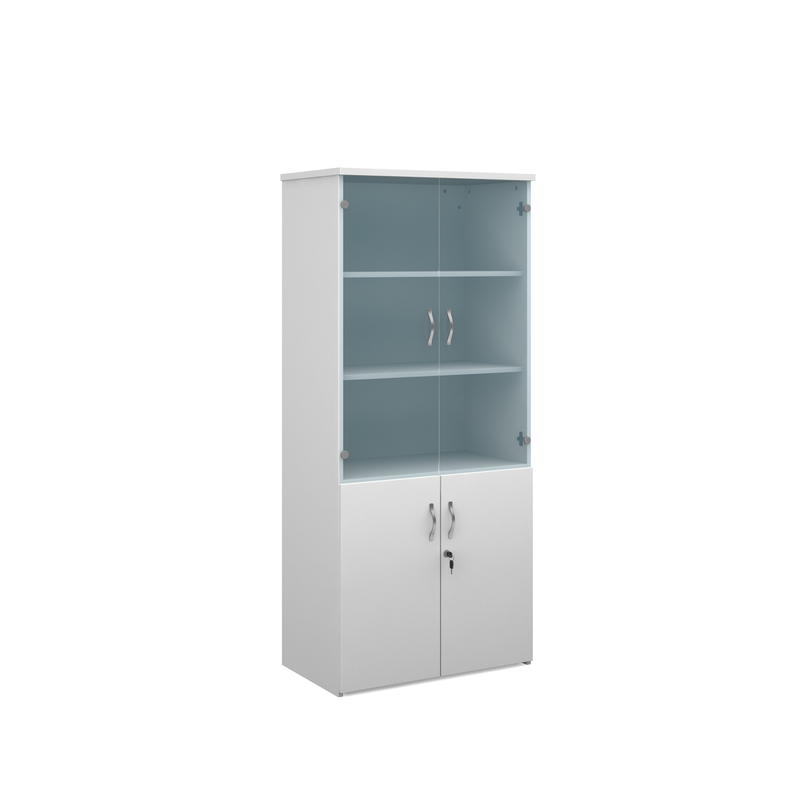 1790mm high combination unit with glass and wood doors in white