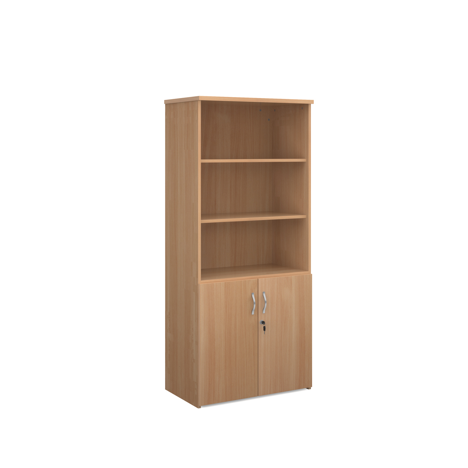 1790mm high combination unit with open top and wood doors in beech