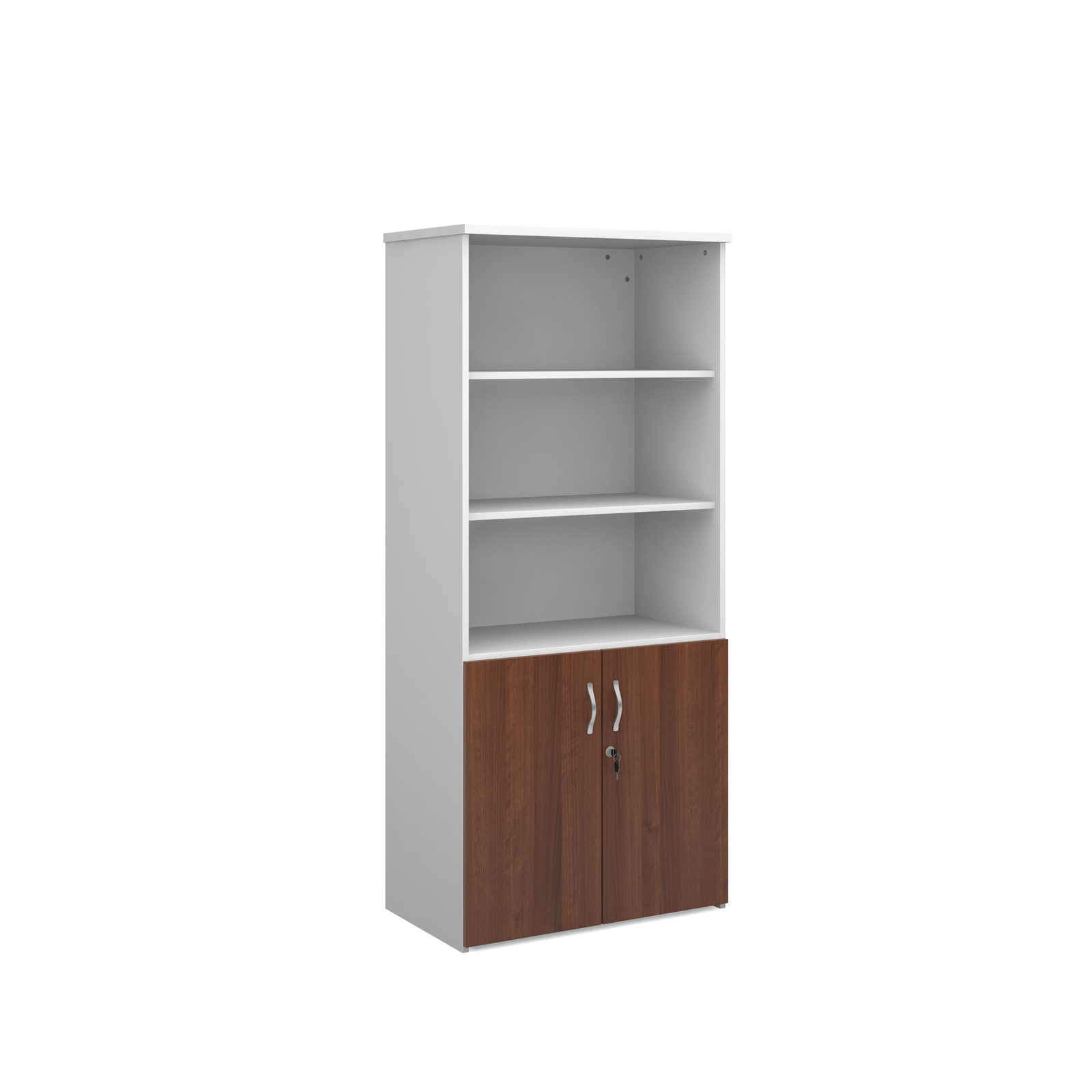 1790mm high combination unit with open top and wood doors in walnut and white