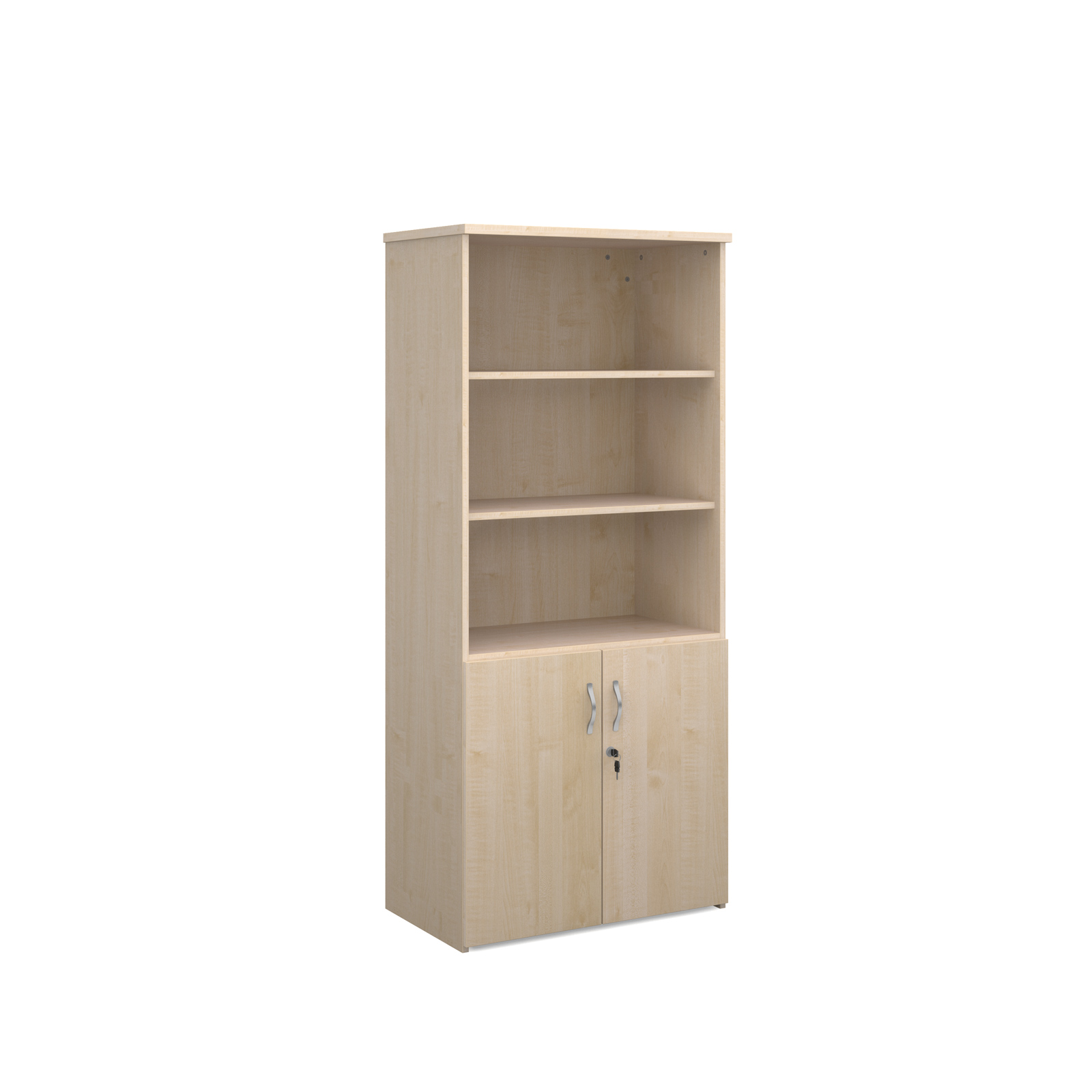 1790mm high combination unit with open top and wood doors in maple