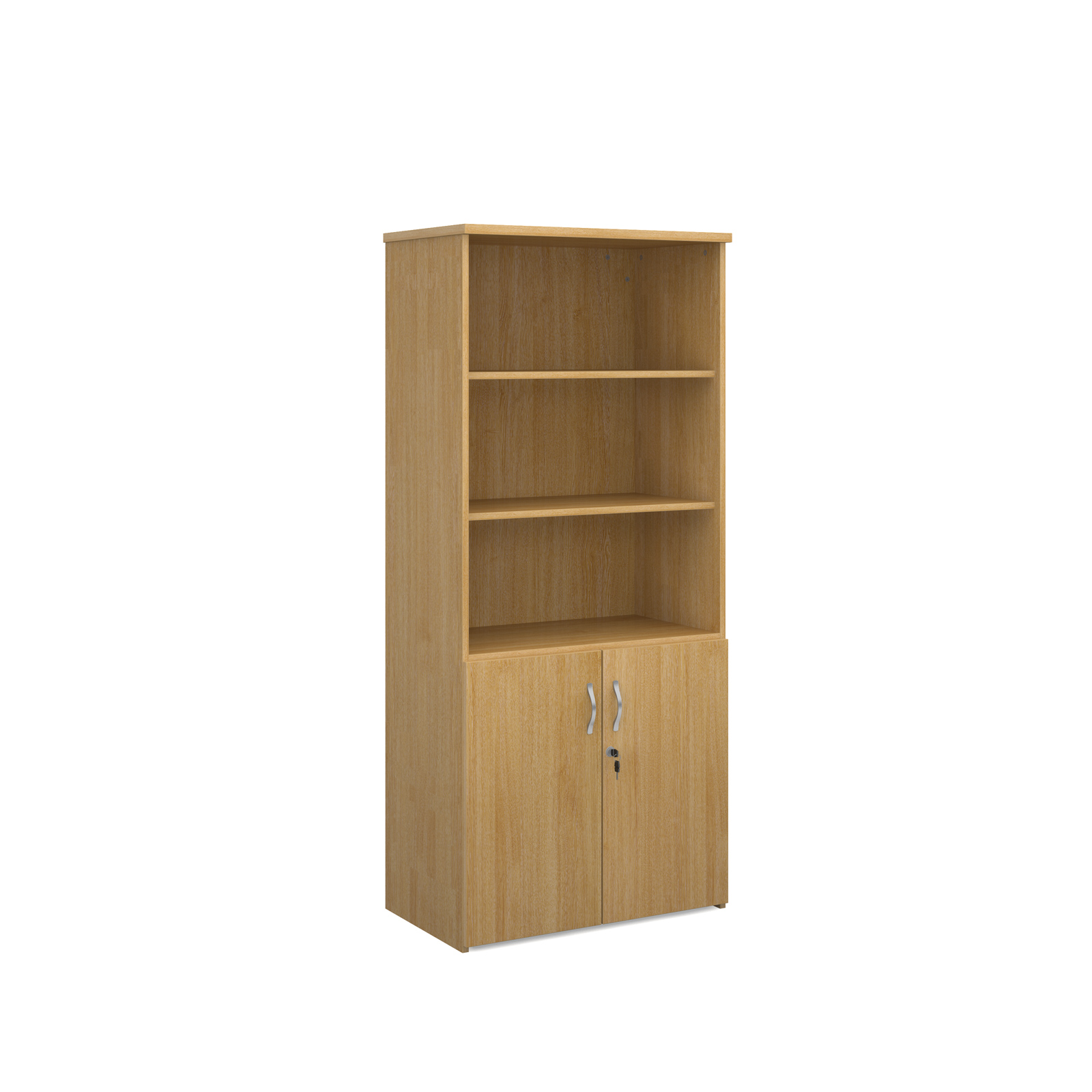 1790mm high combination unit with open top and wood doors in oak