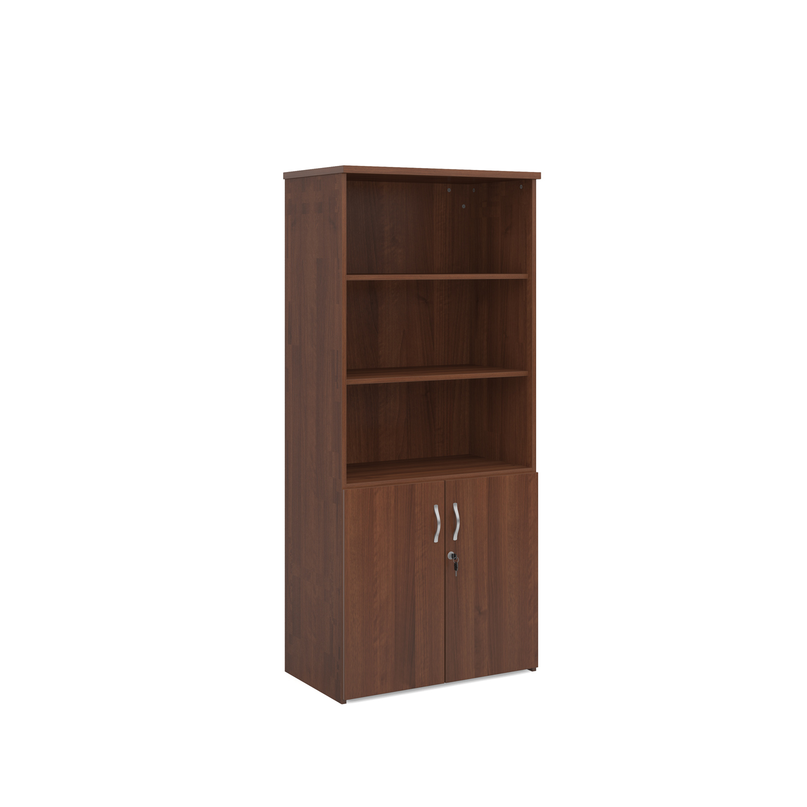 1790mm high combination unit with open top and wood doors in walnut