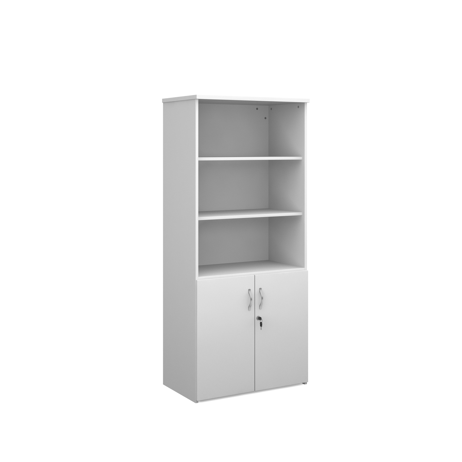 1790mm high combination unit with open top and wood doors in white