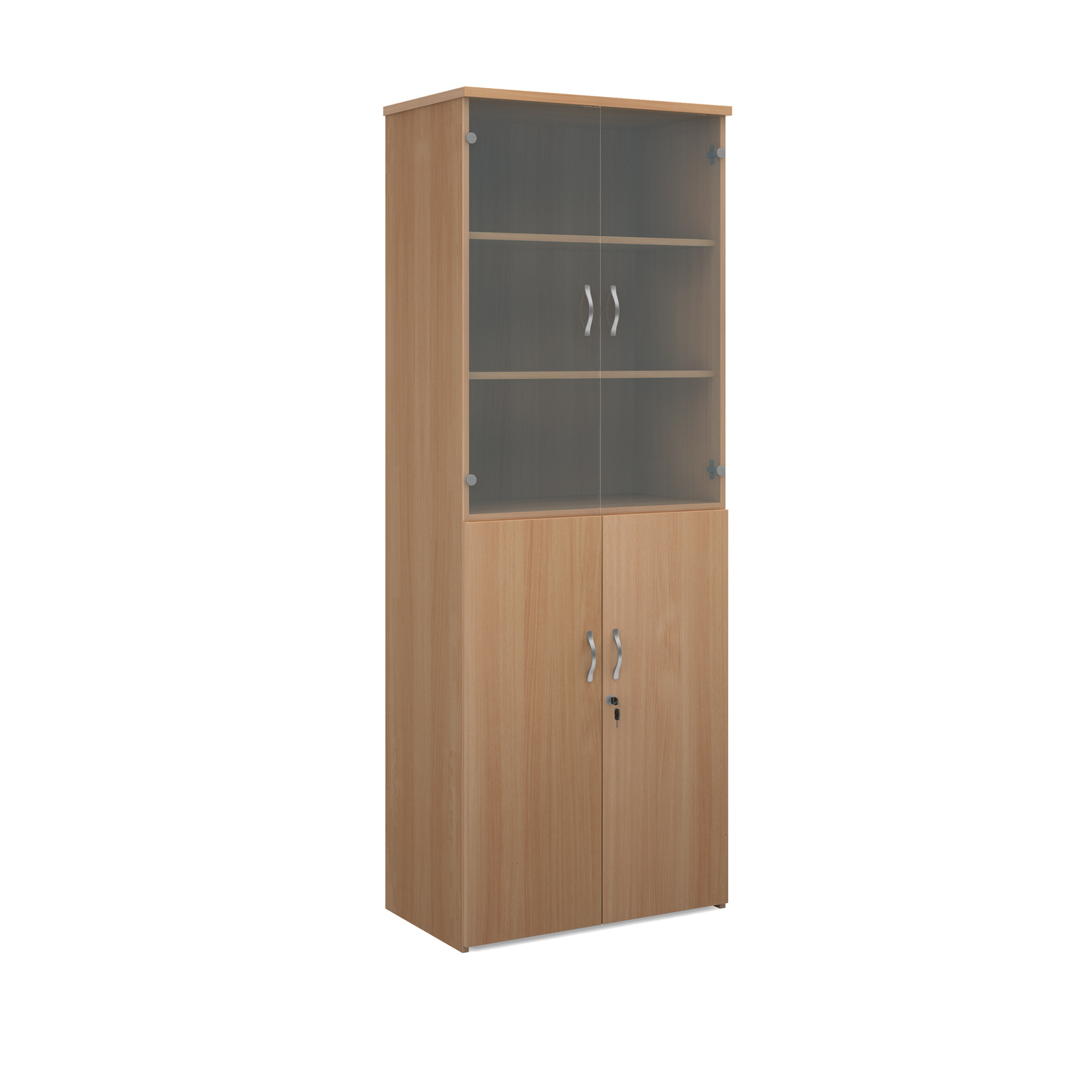 2140mm high combination unit with glass and wood doors in beech