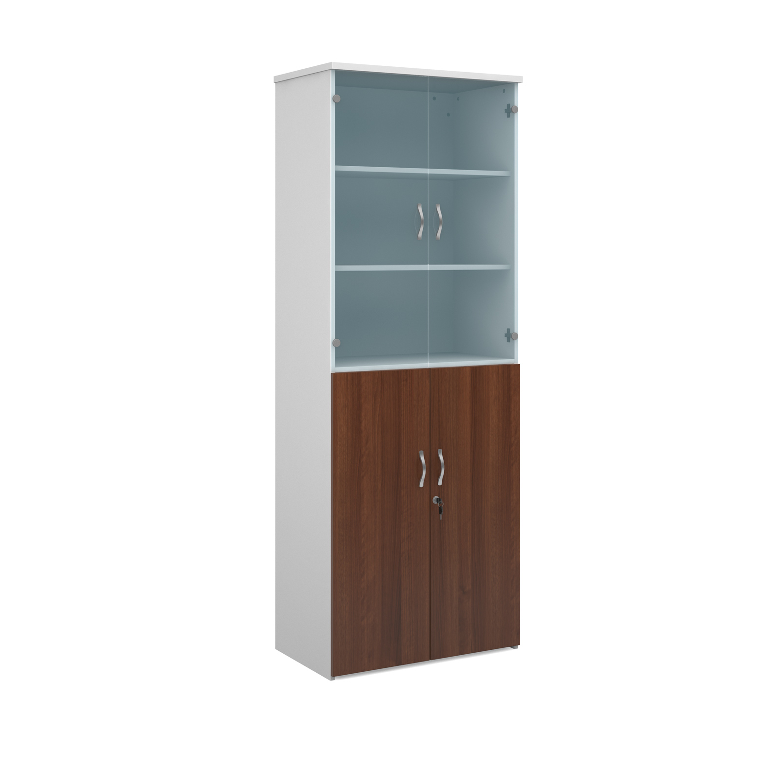 2140mm high combination unit with glass and wood doors in walnut and white